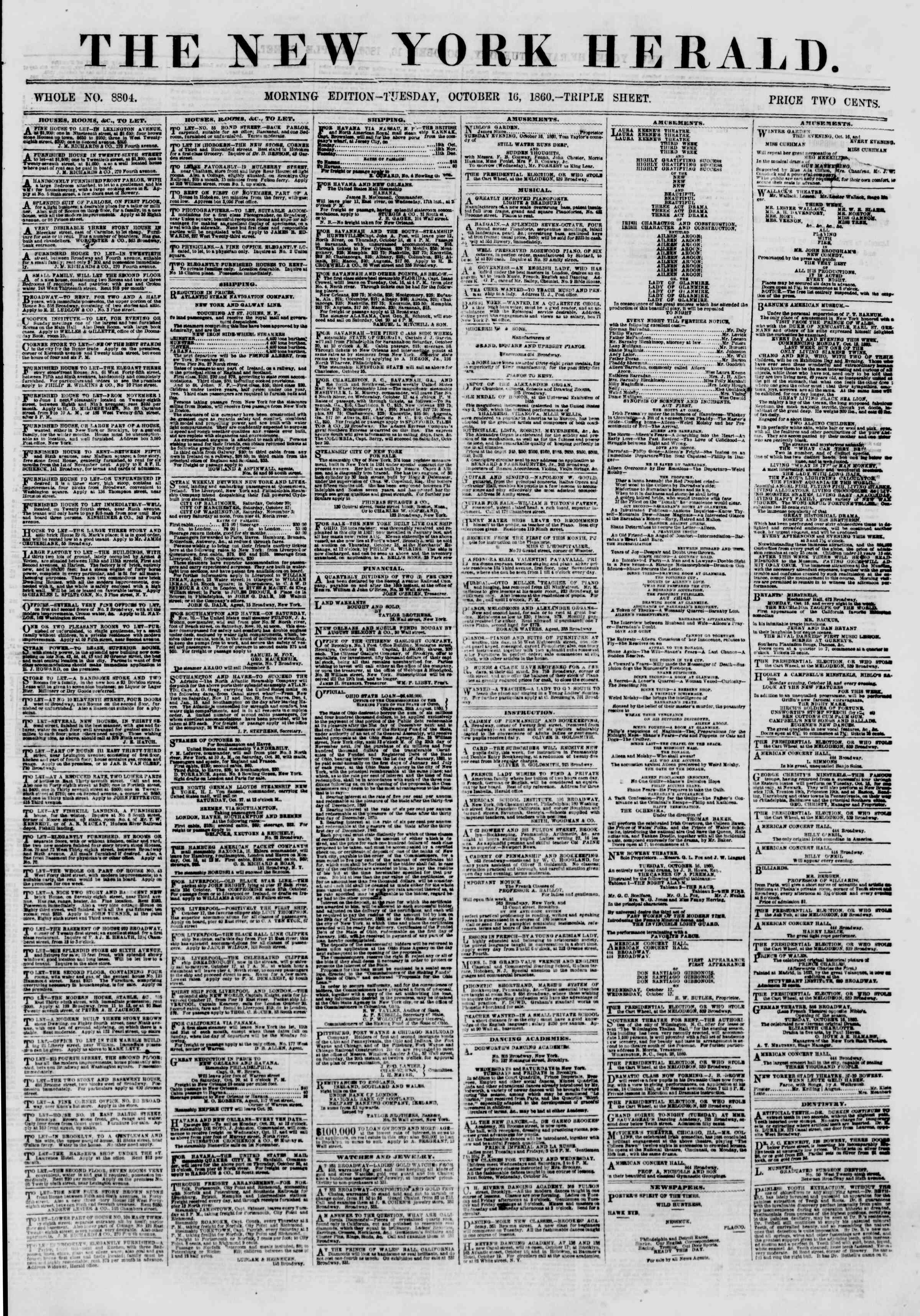 Newspaper of The New York Herald dated October 16, 1860 Page 1