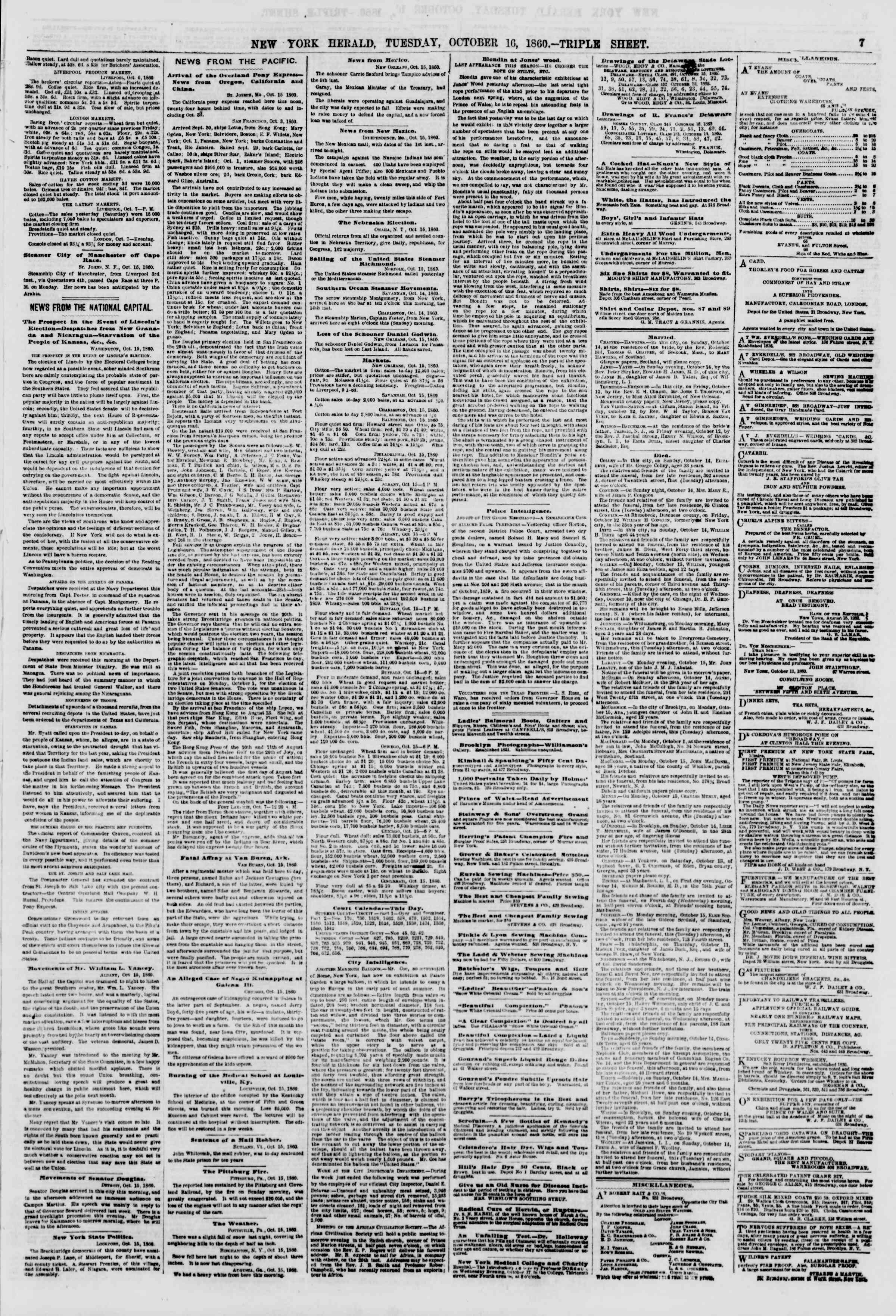 Newspaper of The New York Herald dated October 16, 1860 Page 7