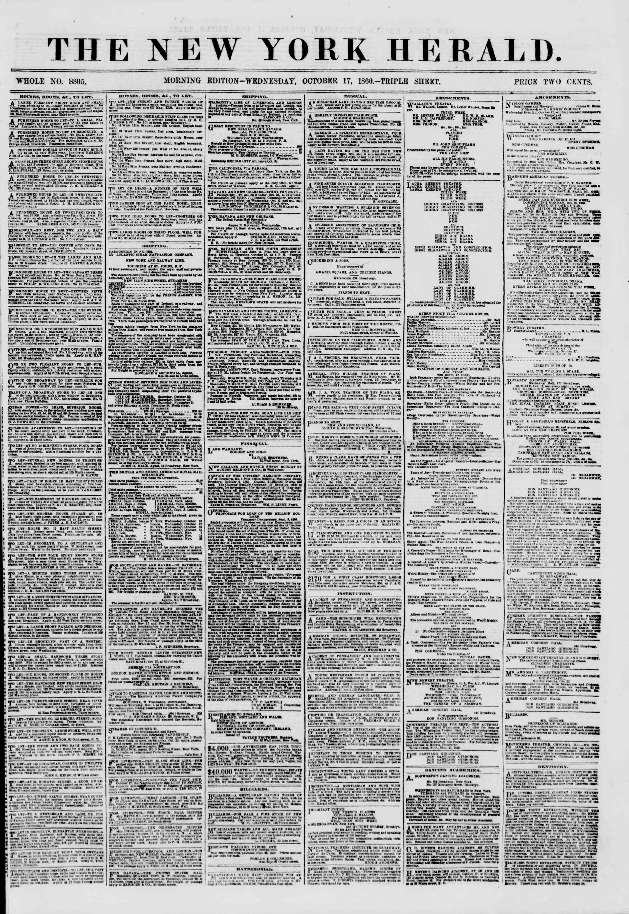 Newspaper of The New York Herald dated October 17, 1860 Page 1