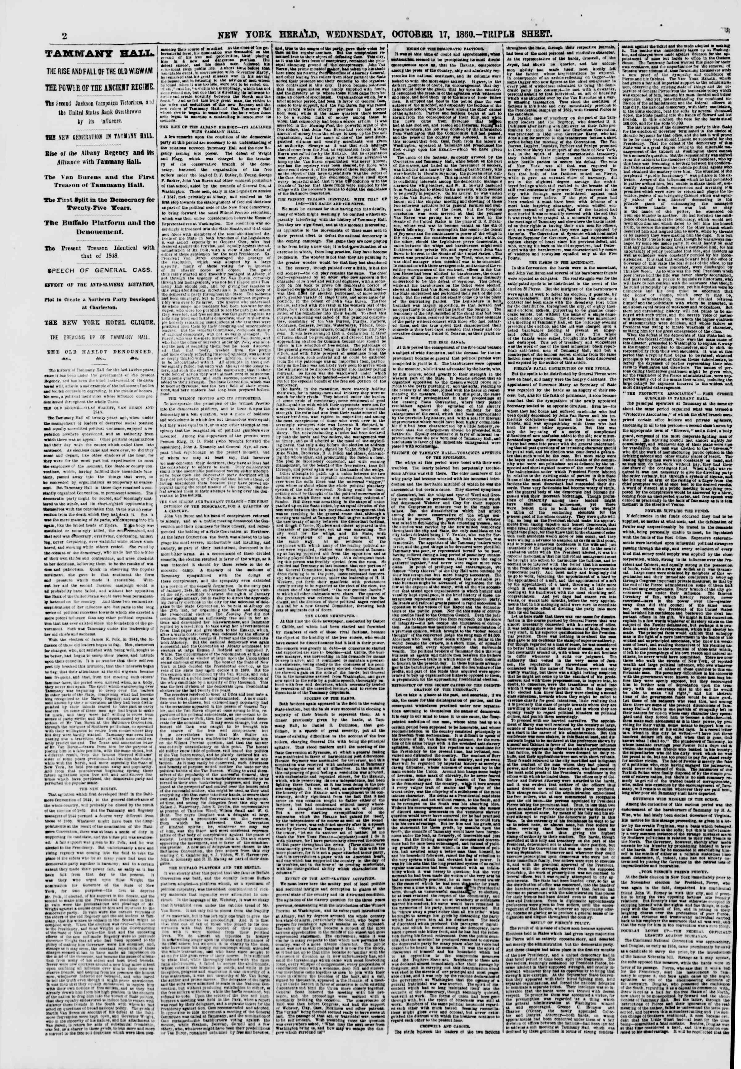 17 Ekim 1860 tarihli The New York Herald Gazetesi Sayfa 2