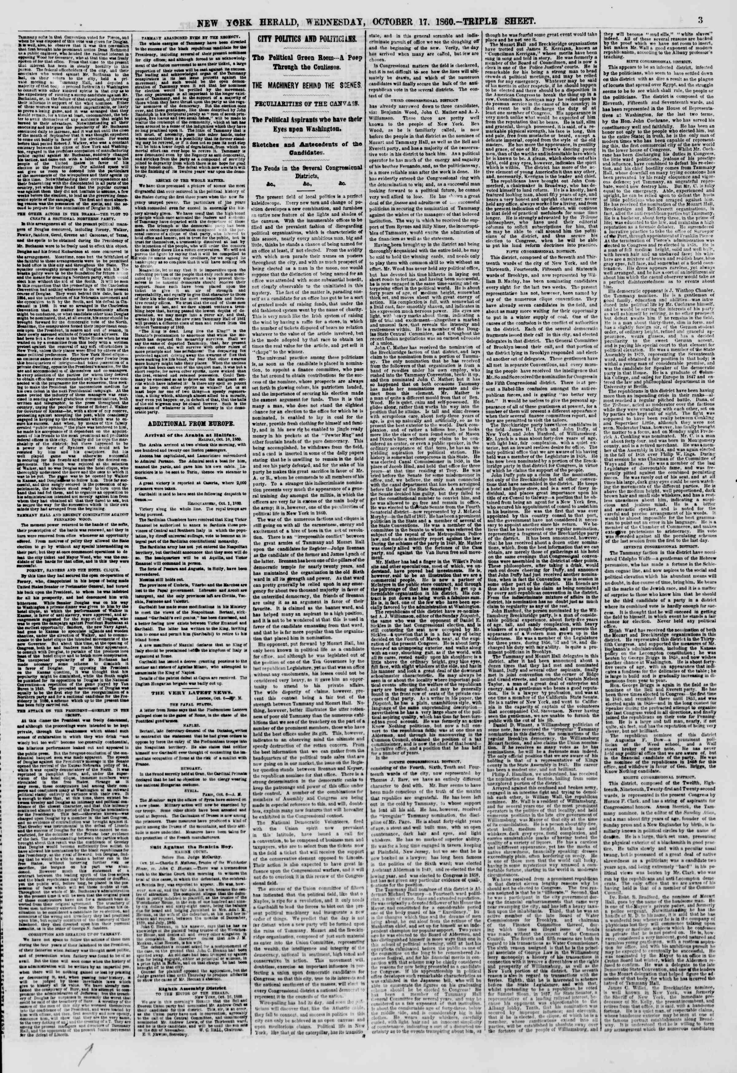 Newspaper of The New York Herald dated 17 Ekim 1860 Page 3