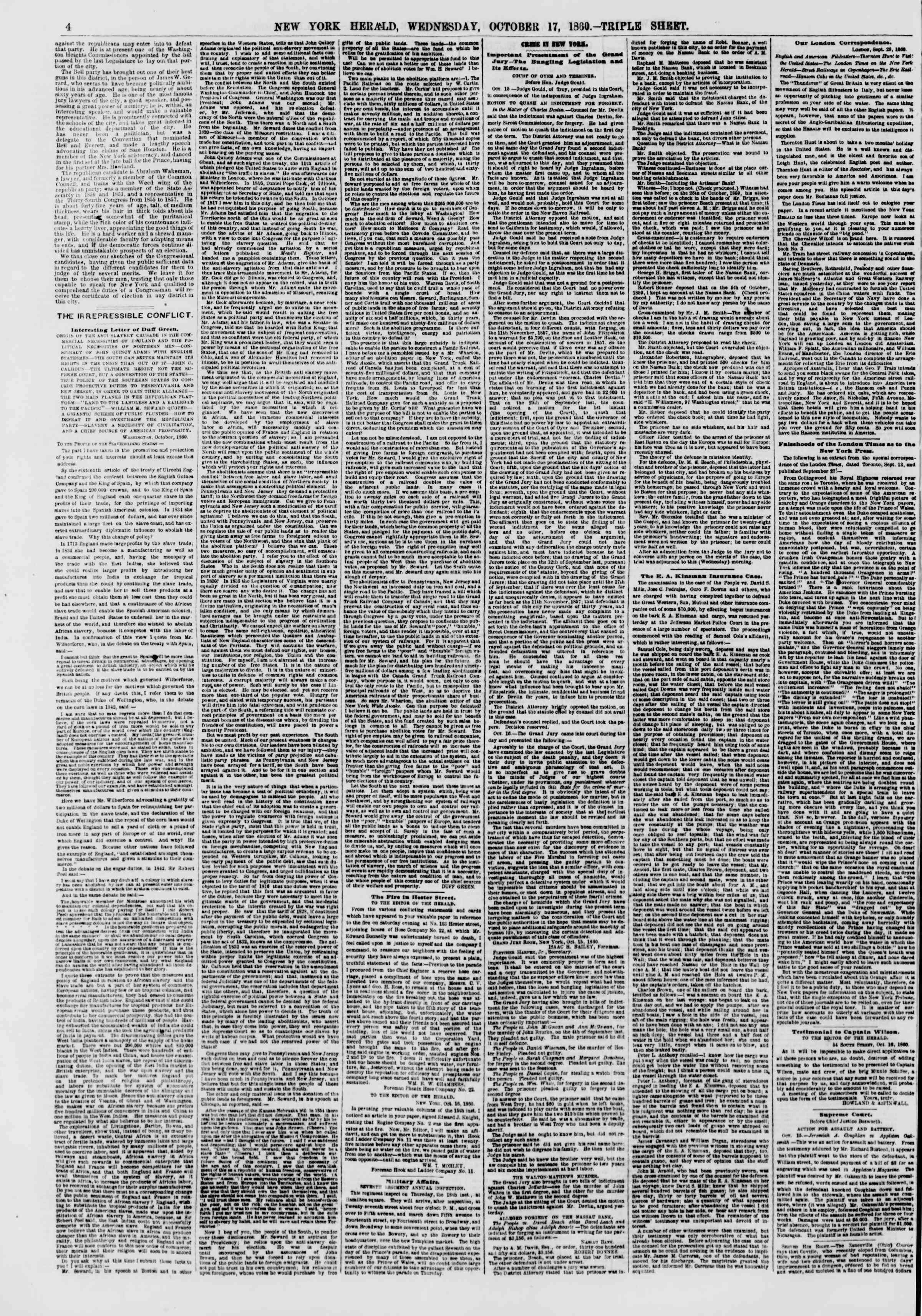 Newspaper of The New York Herald dated October 17, 1860 Page 4