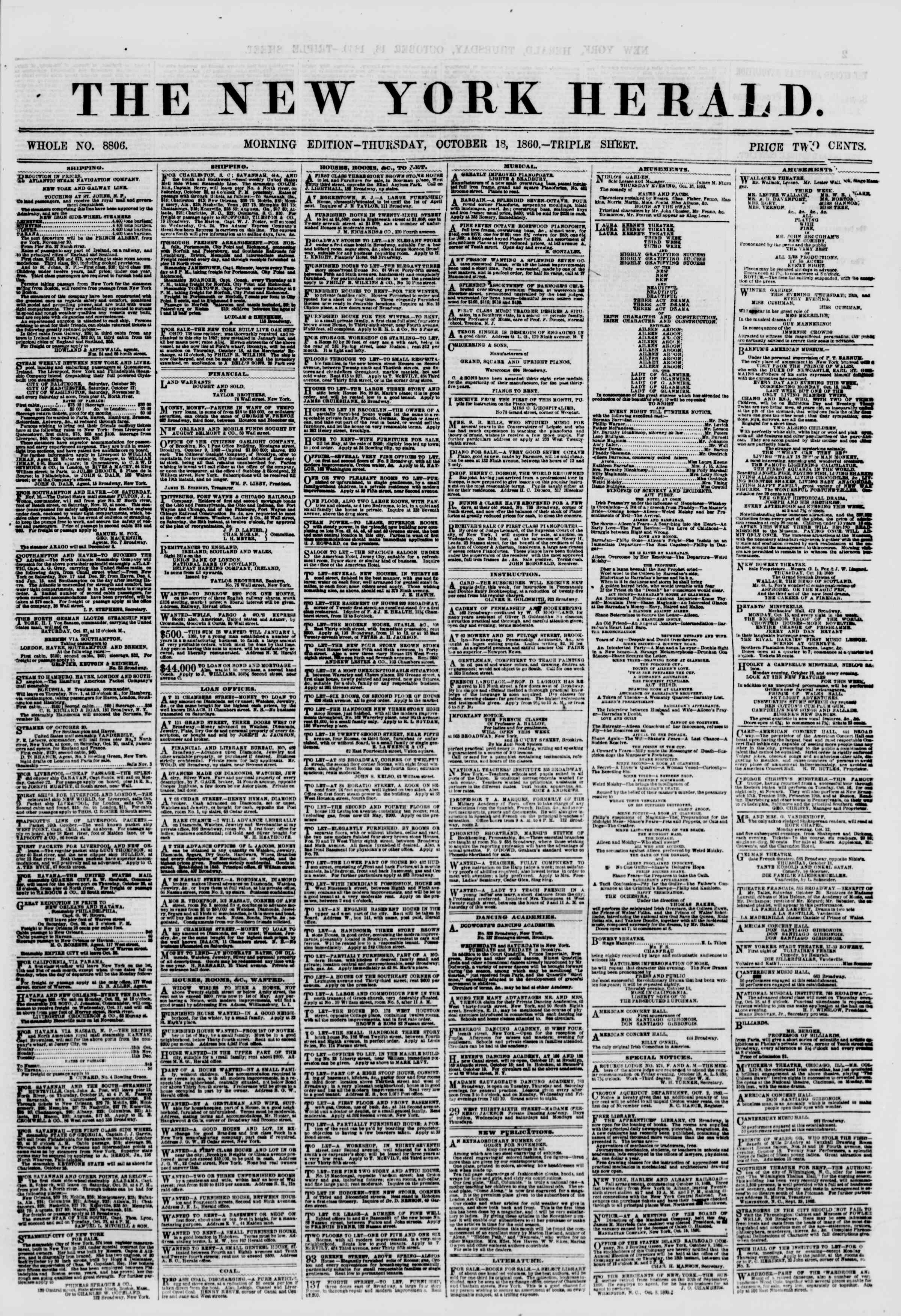 Newspaper of The New York Herald dated October 18, 1860 Page 1