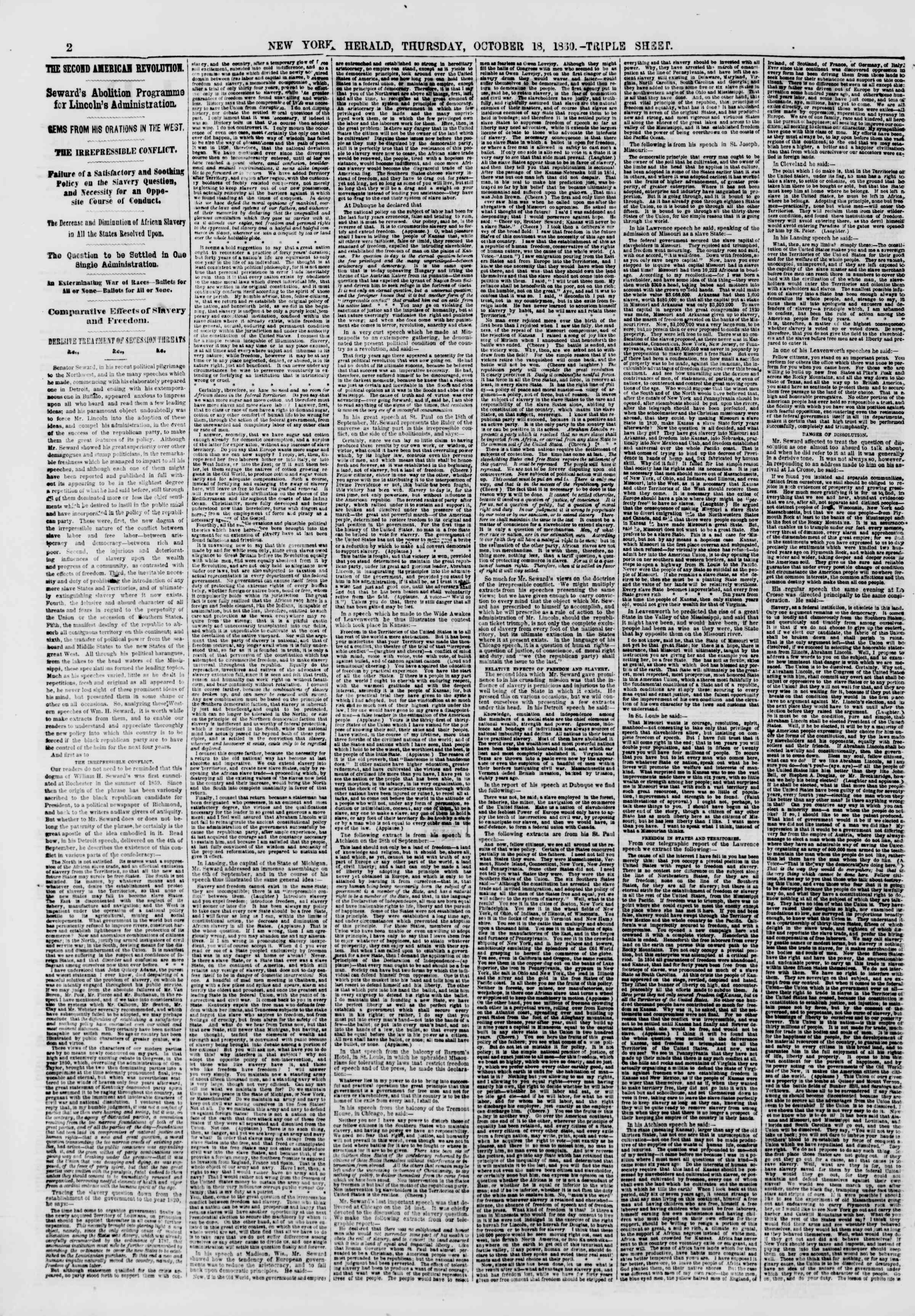 Newspaper of The New York Herald dated October 18, 1860 Page 2