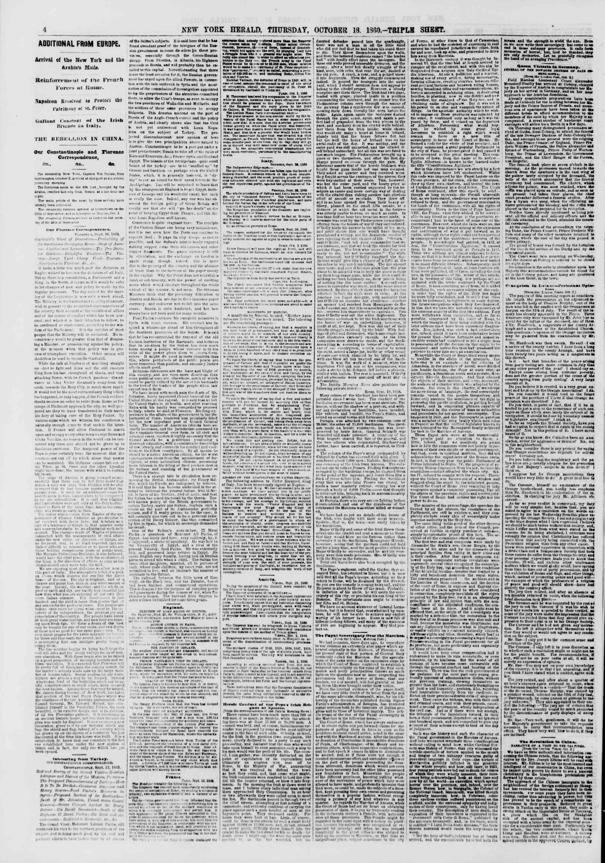 Newspaper of The New York Herald dated October 18, 1860 Page 4