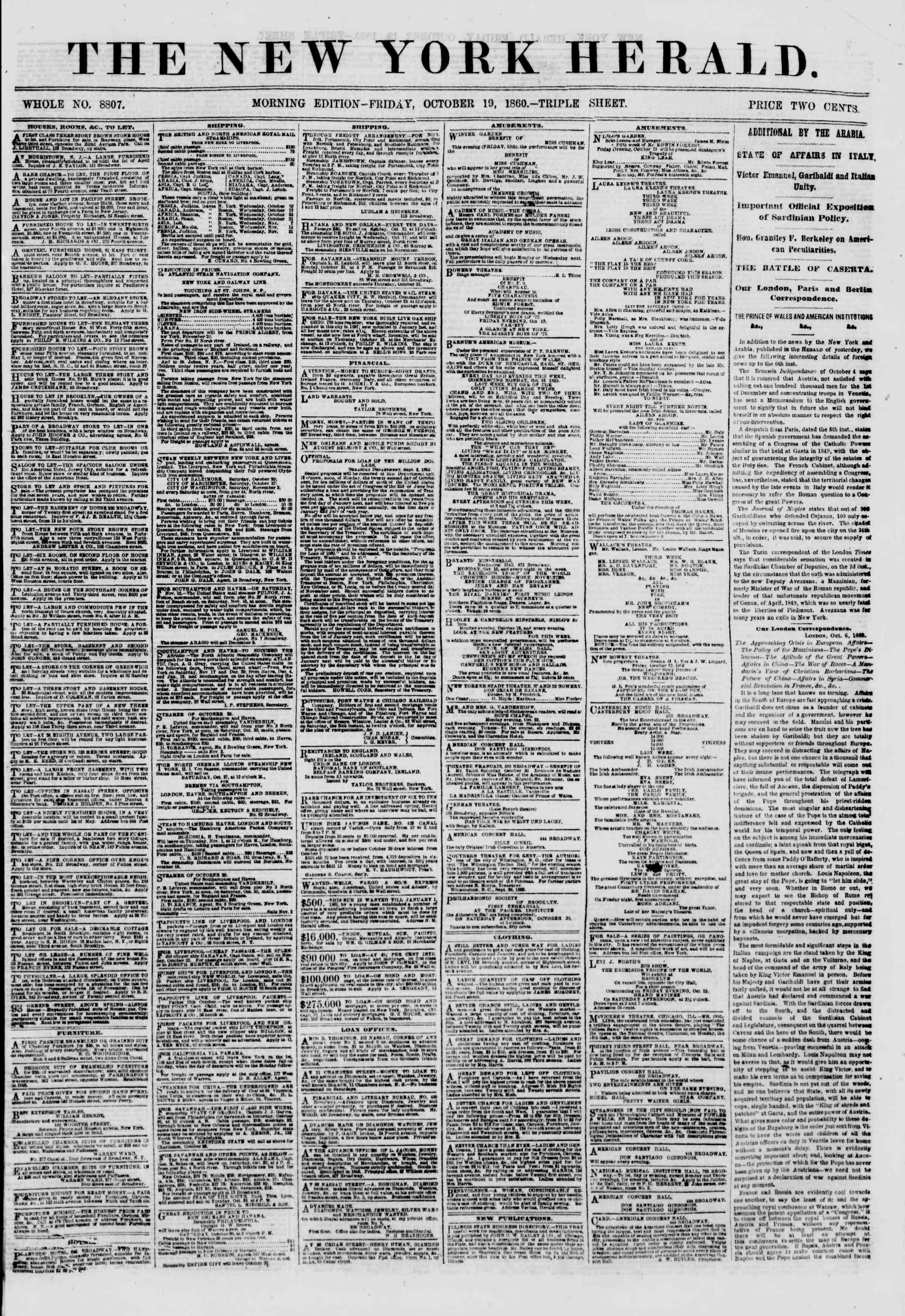 Newspaper of The New York Herald dated October 19, 1860 Page 1