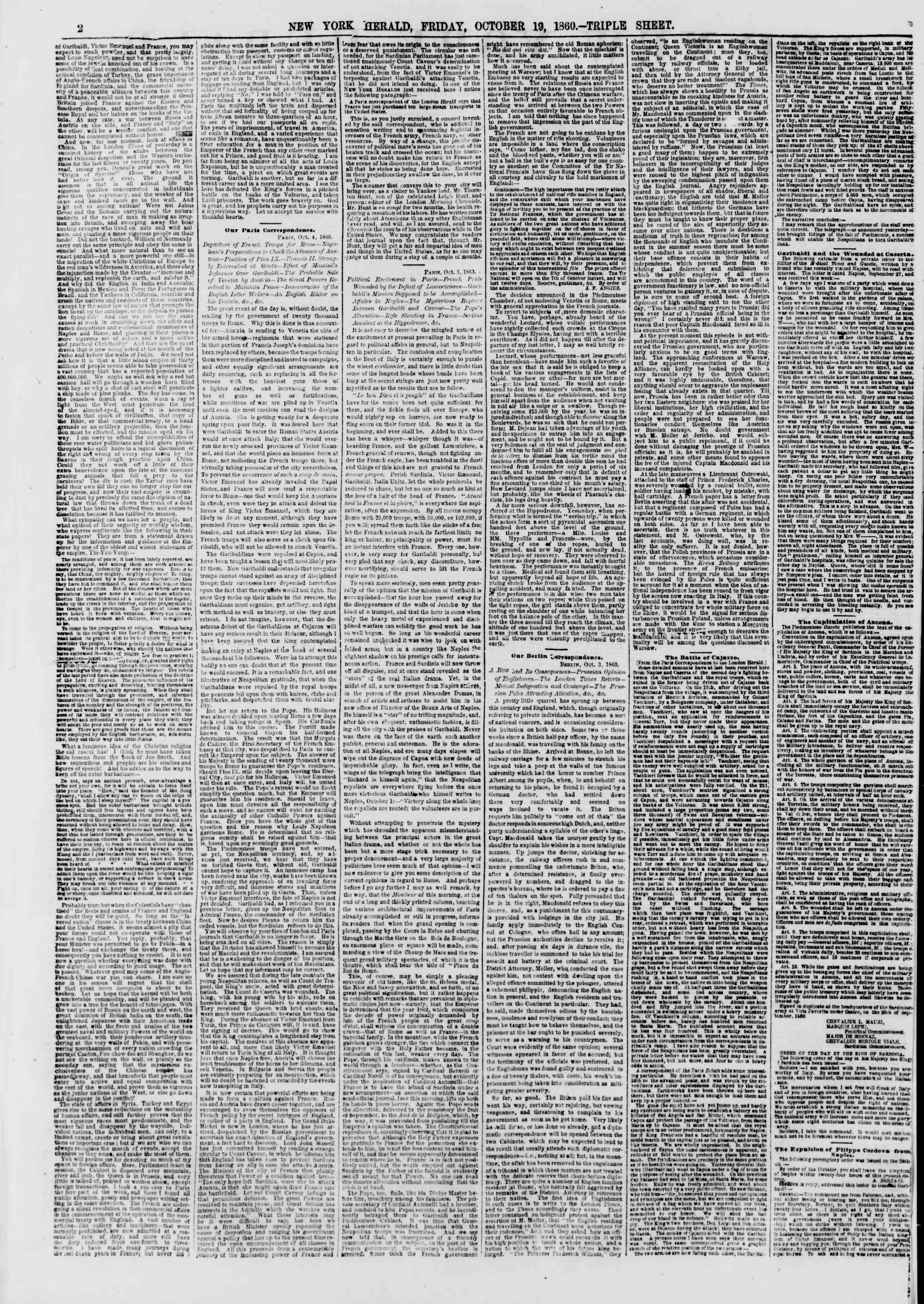 Newspaper of The New York Herald dated October 19, 1860 Page 2