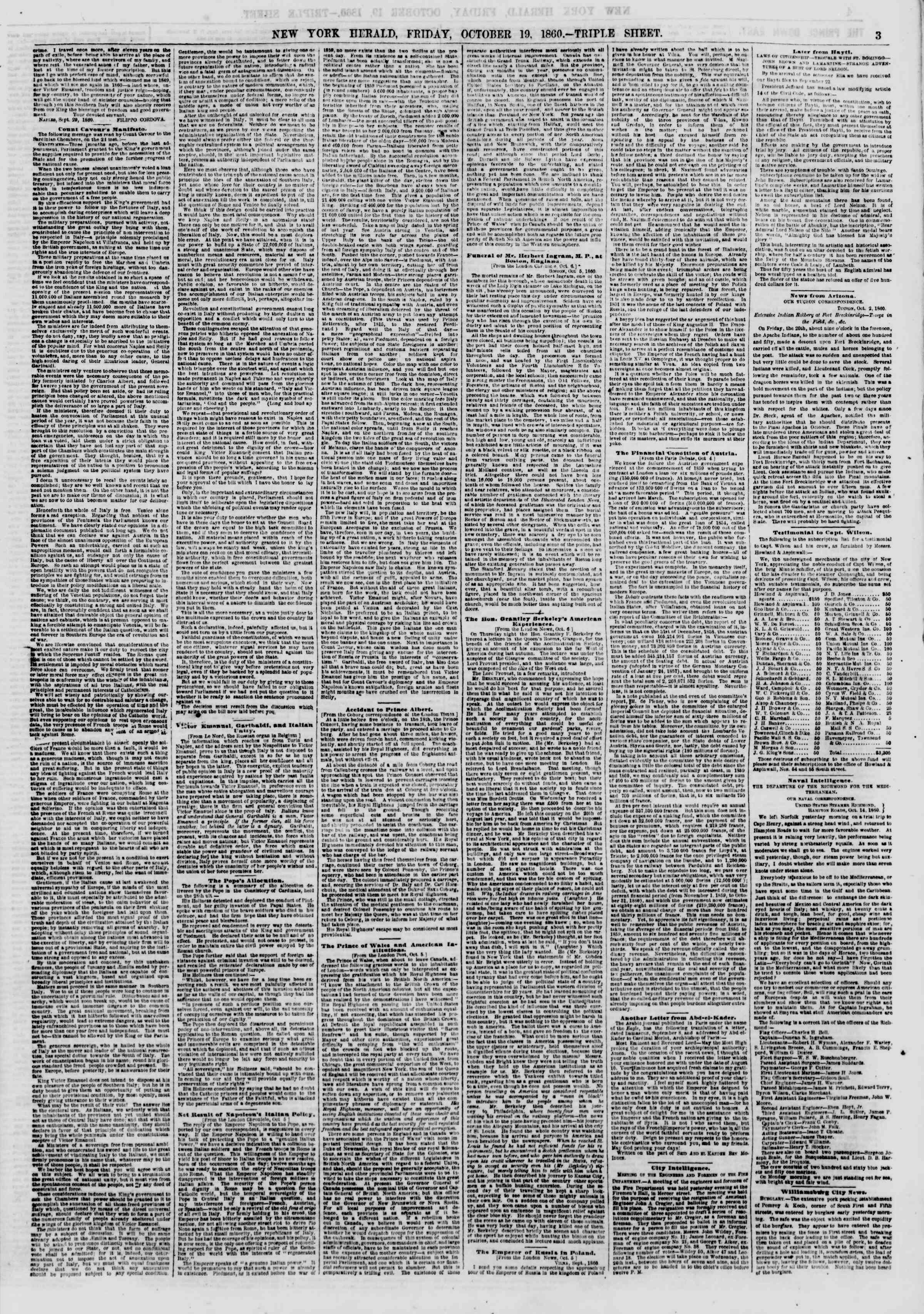 Newspaper of The New York Herald dated October 19, 1860 Page 3