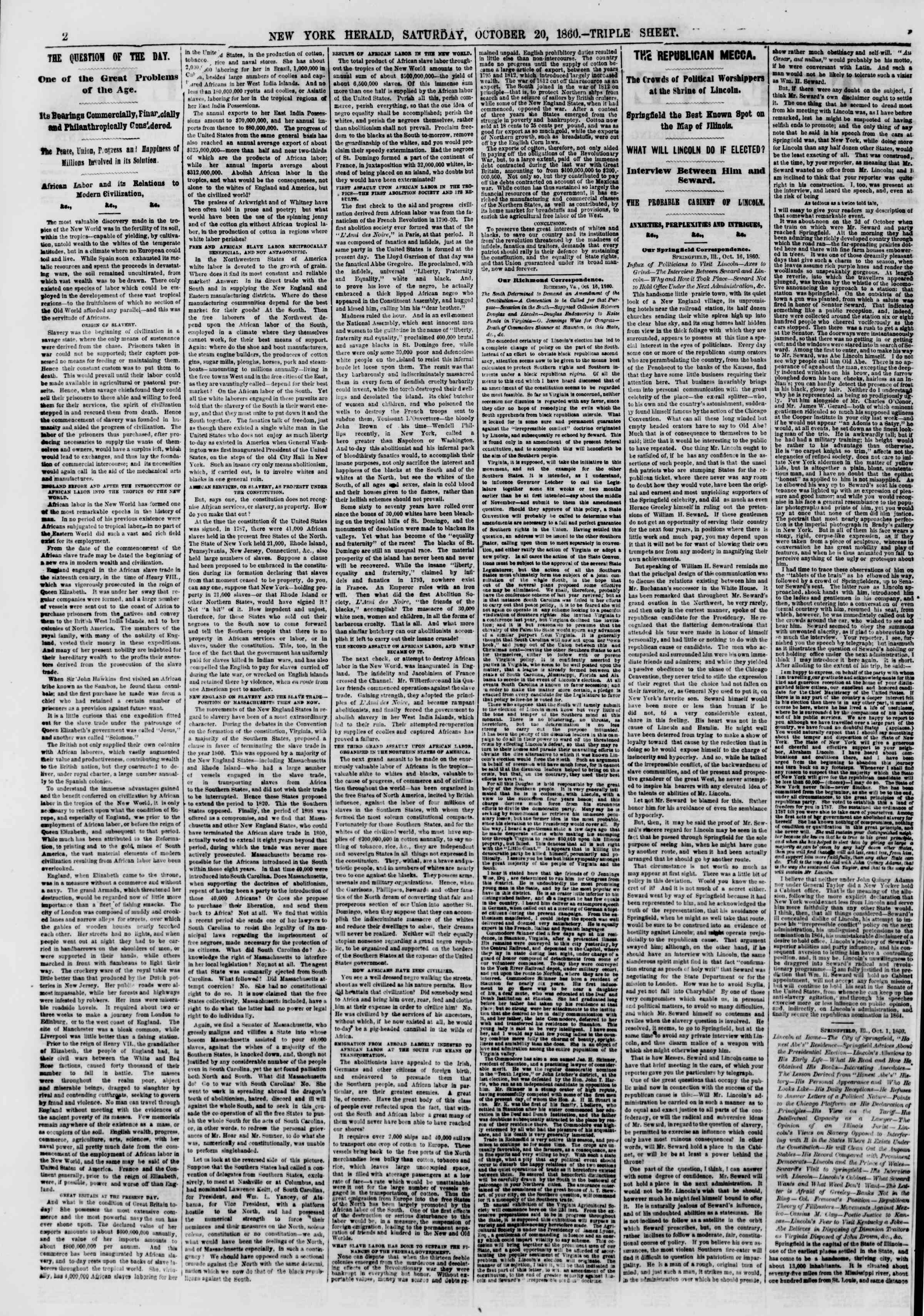 Newspaper of The New York Herald dated October 20, 1860 Page 2