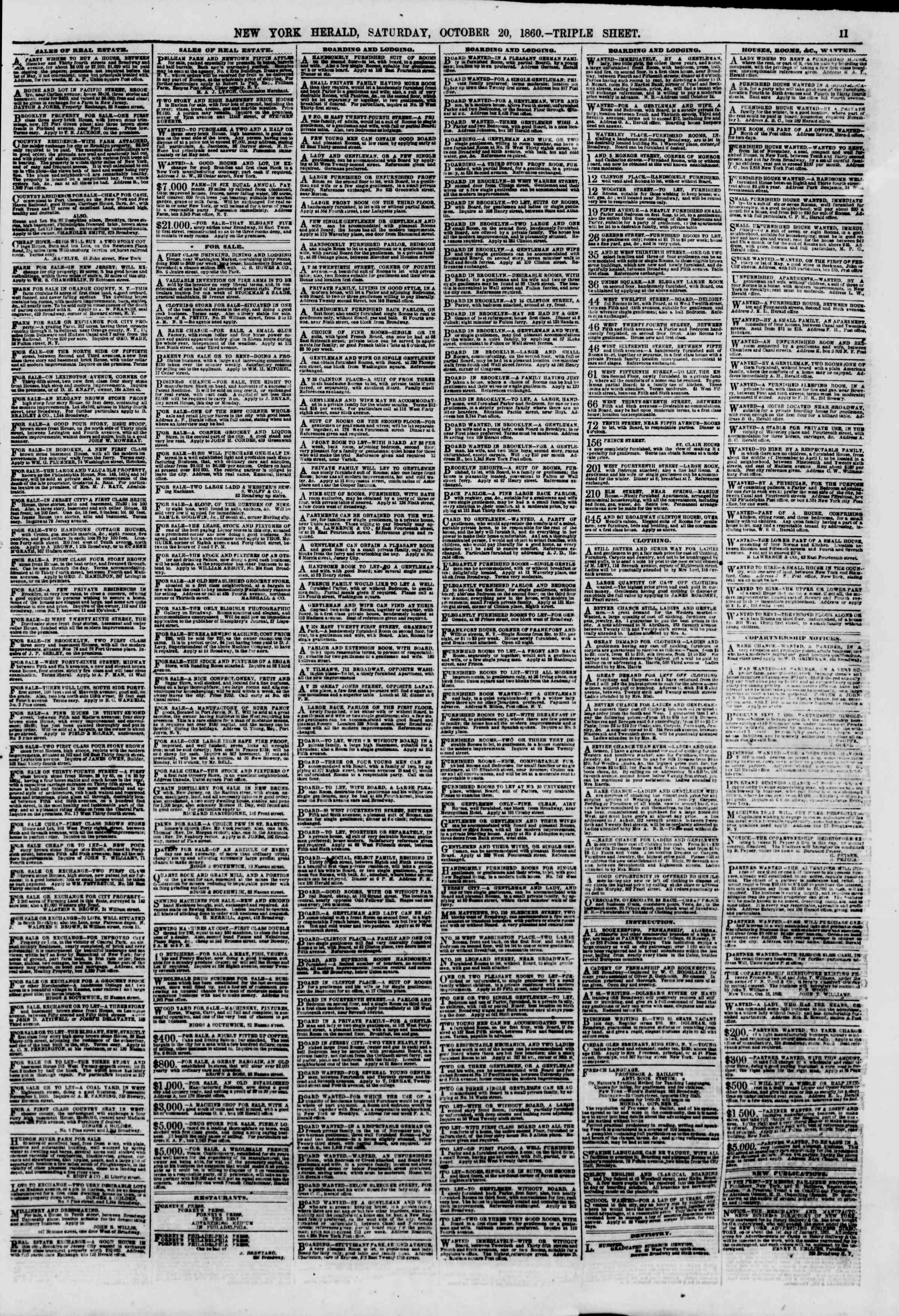 Newspaper of The New York Herald dated October 20, 1860 Page 11