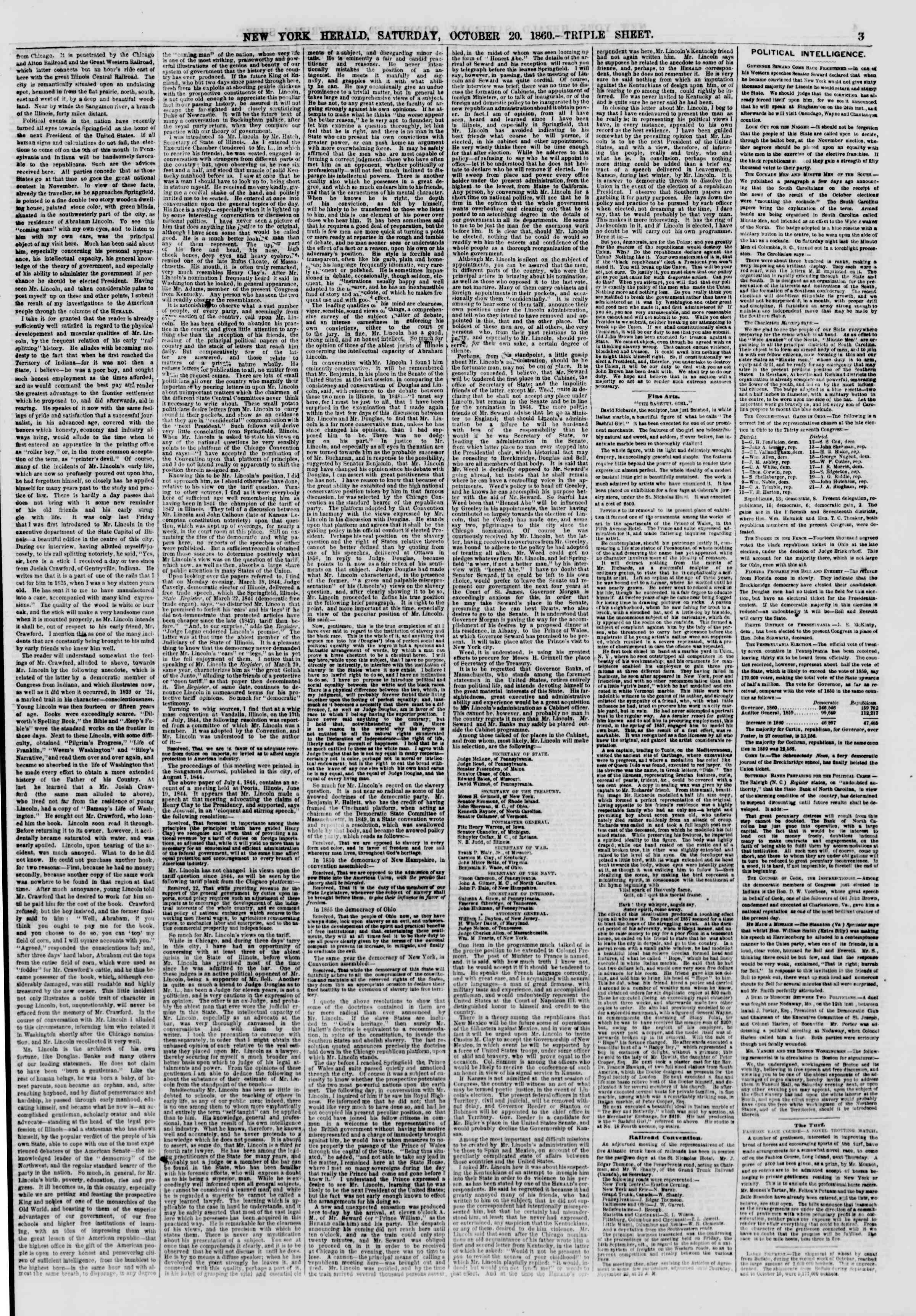 Newspaper of The New York Herald dated October 20, 1860 Page 3