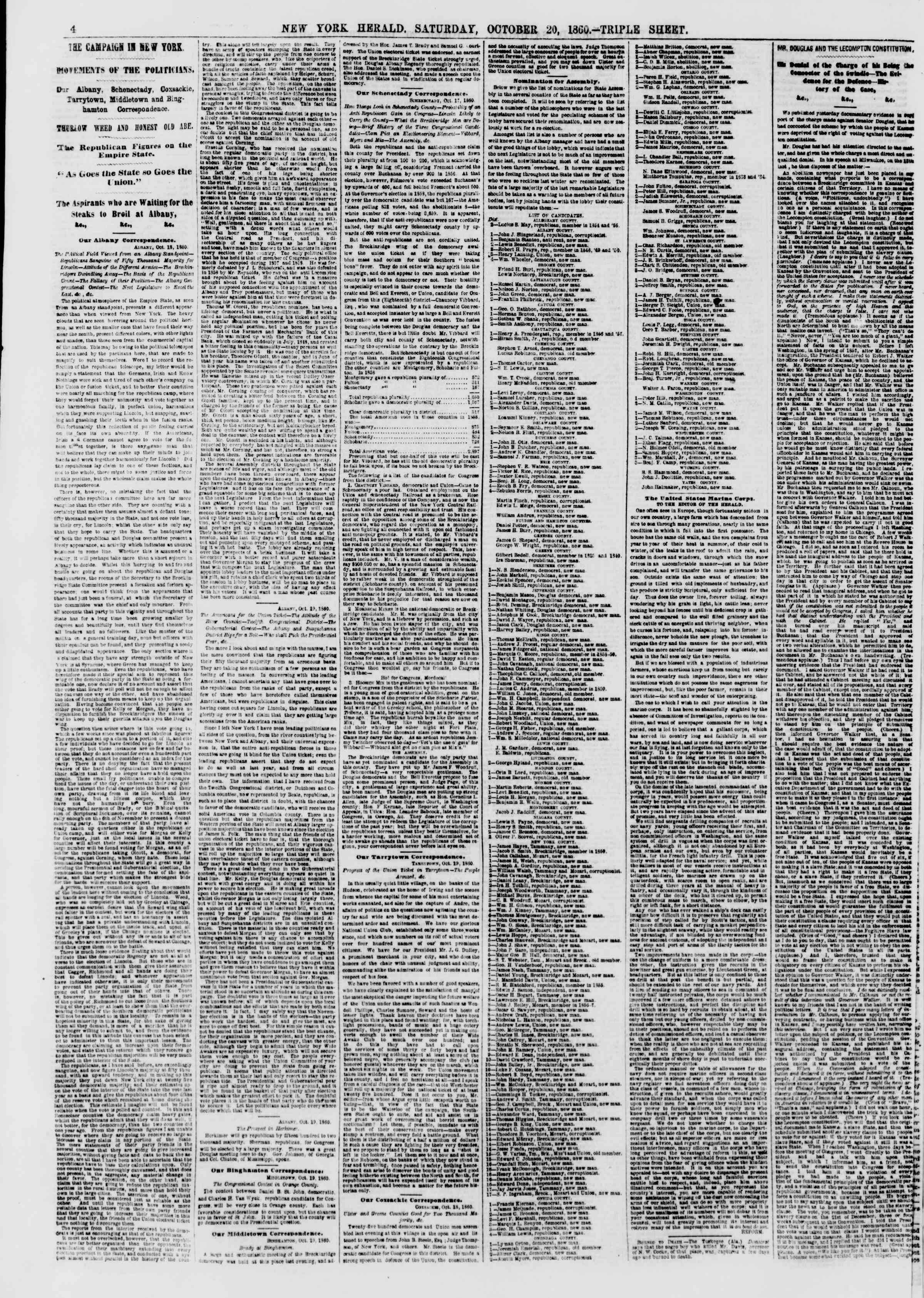 Newspaper of The New York Herald dated October 20, 1860 Page 4