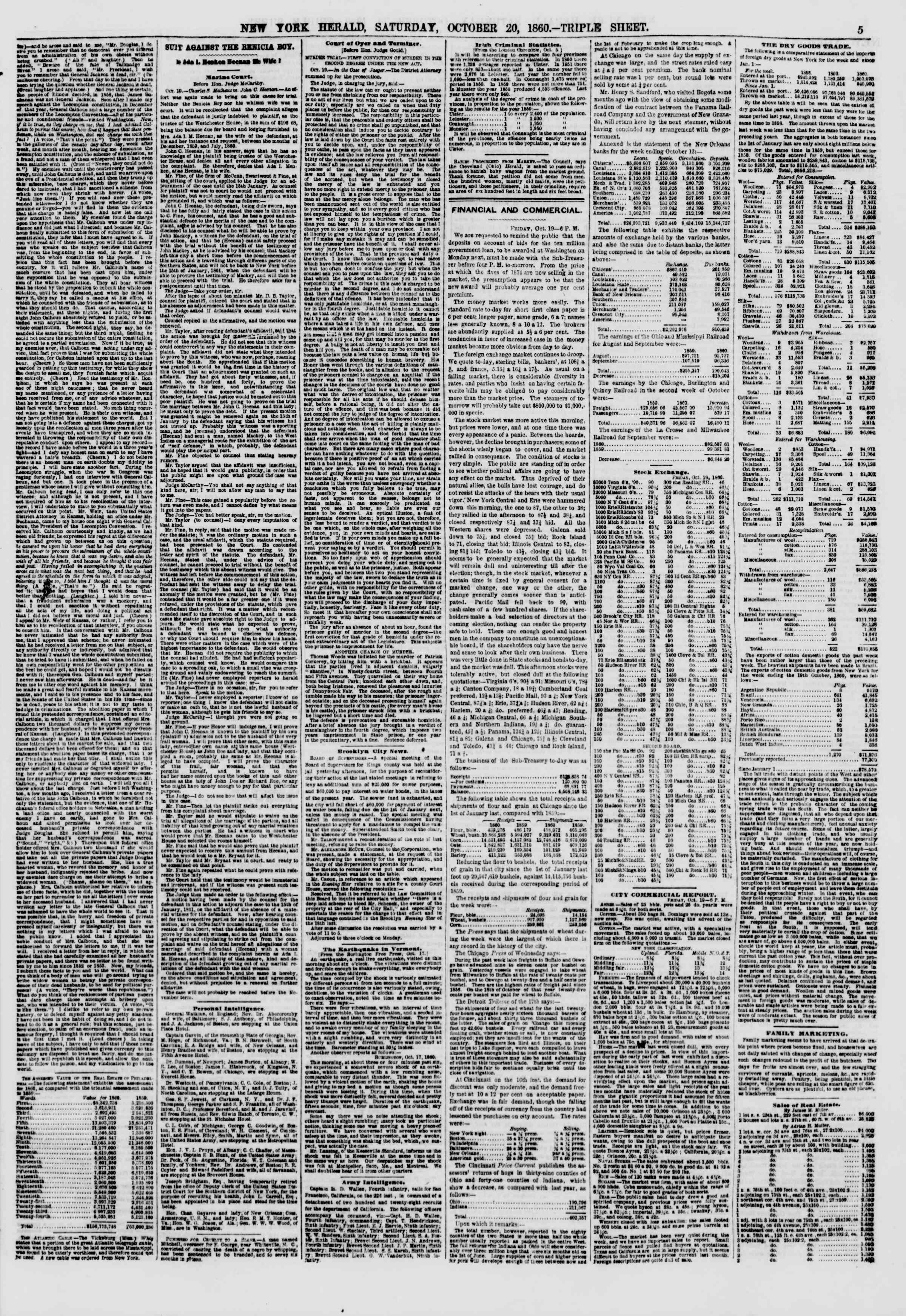 Newspaper of The New York Herald dated October 20, 1860 Page 5