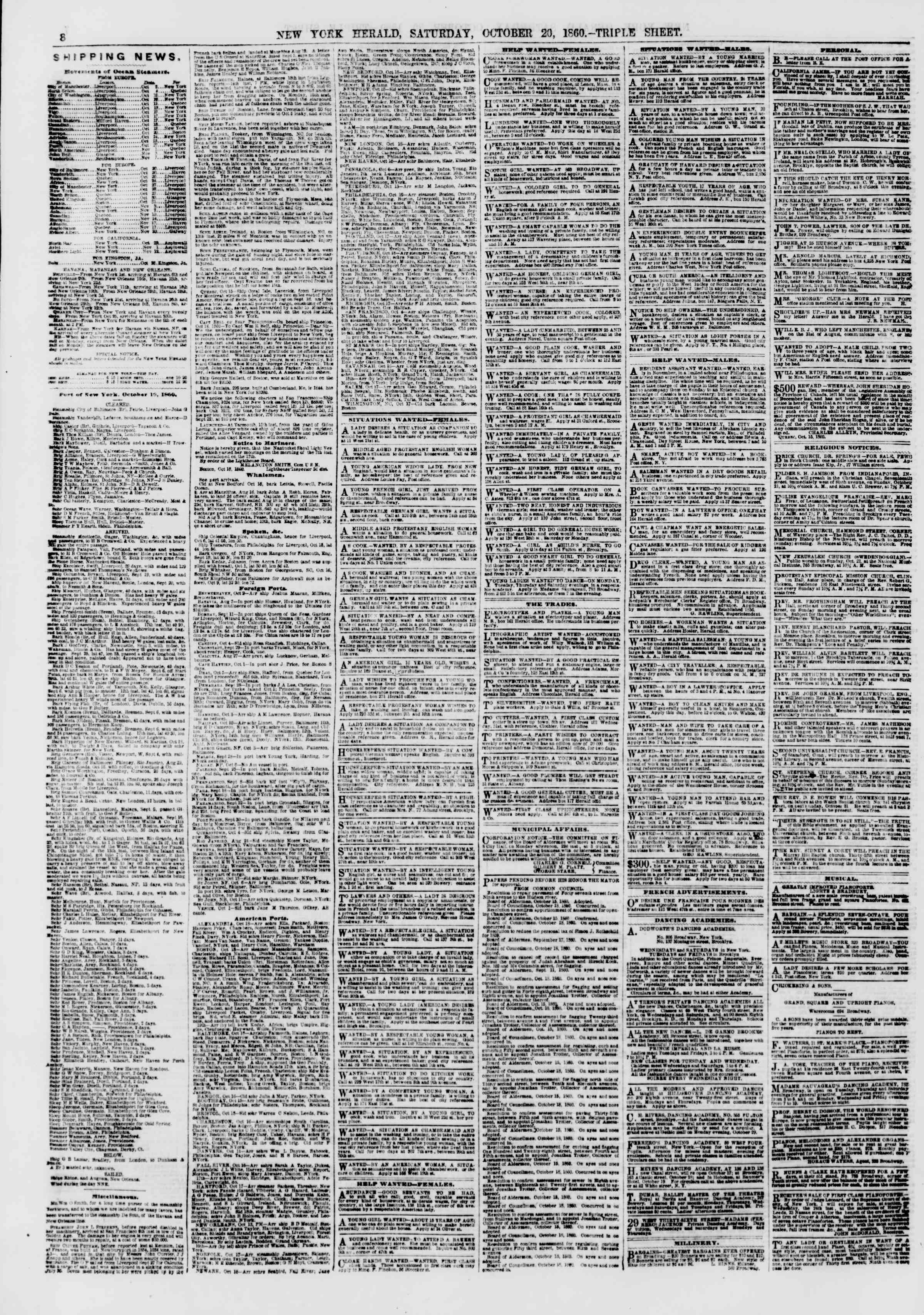 Newspaper of The New York Herald dated October 20, 1860 Page 8