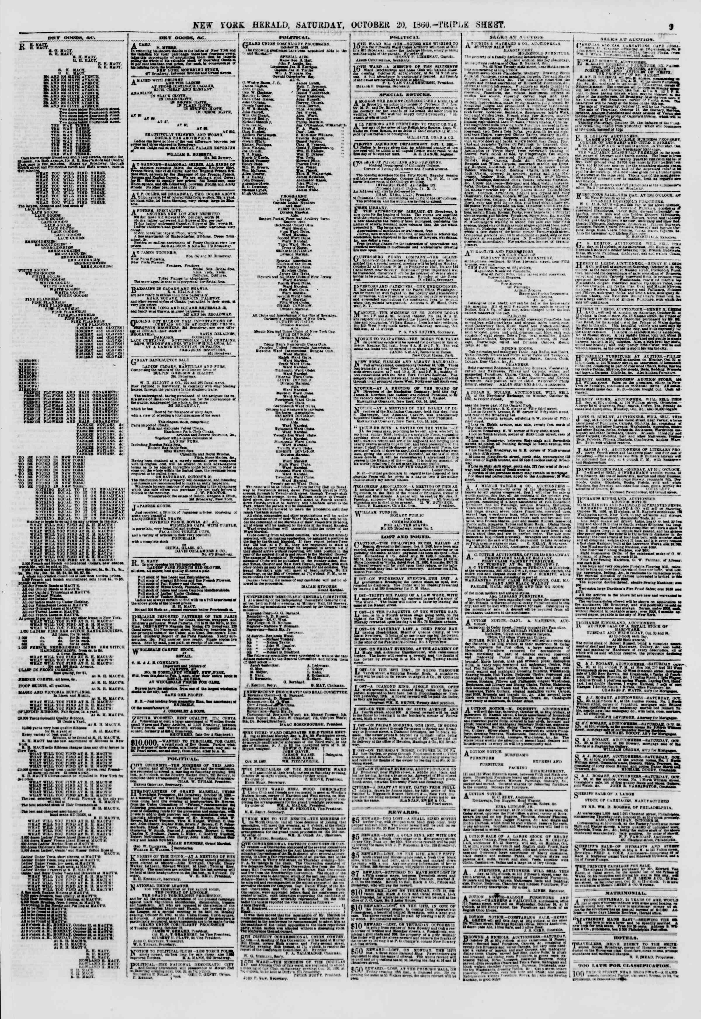 Newspaper of The New York Herald dated October 20, 1860 Page 9