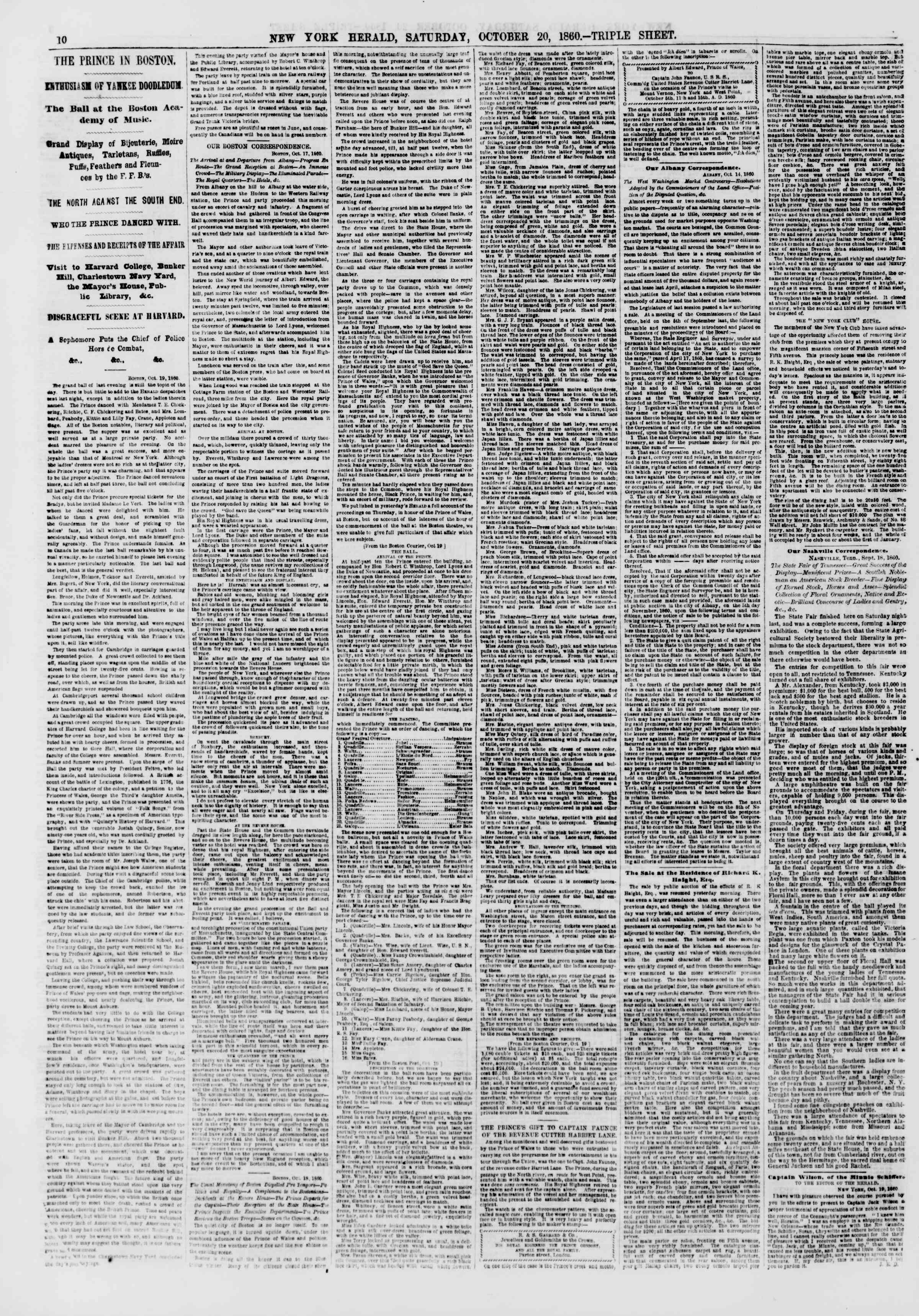 Newspaper of The New York Herald dated October 20, 1860 Page 10