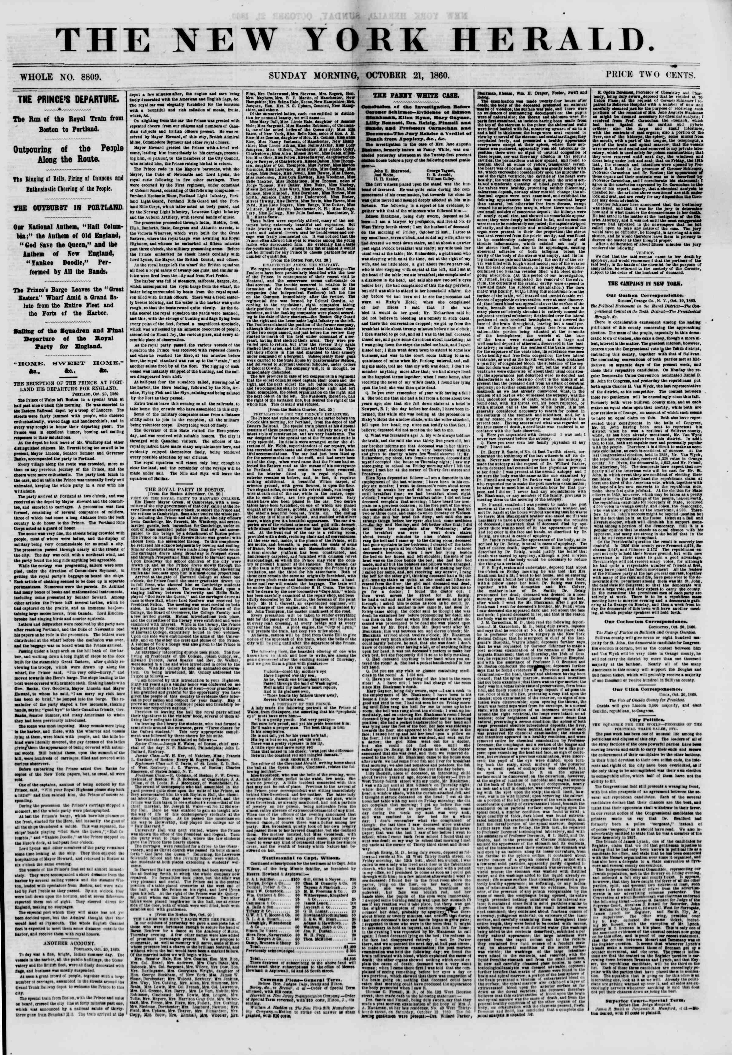 Newspaper of The New York Herald dated October 21, 1860 Page 1