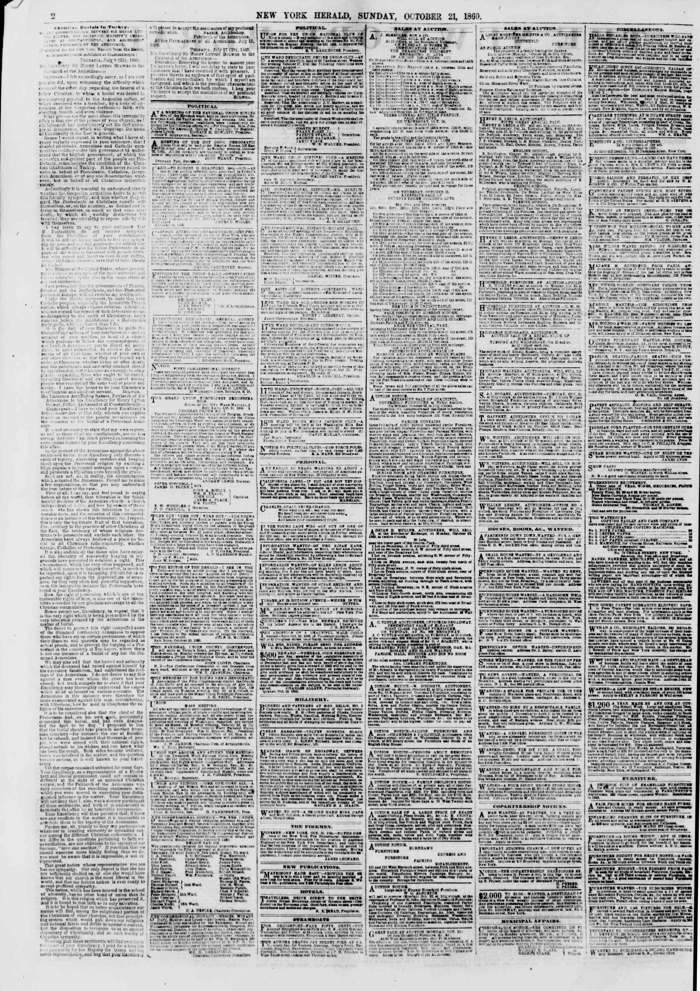 Newspaper of The New York Herald dated October 21, 1860 Page 2