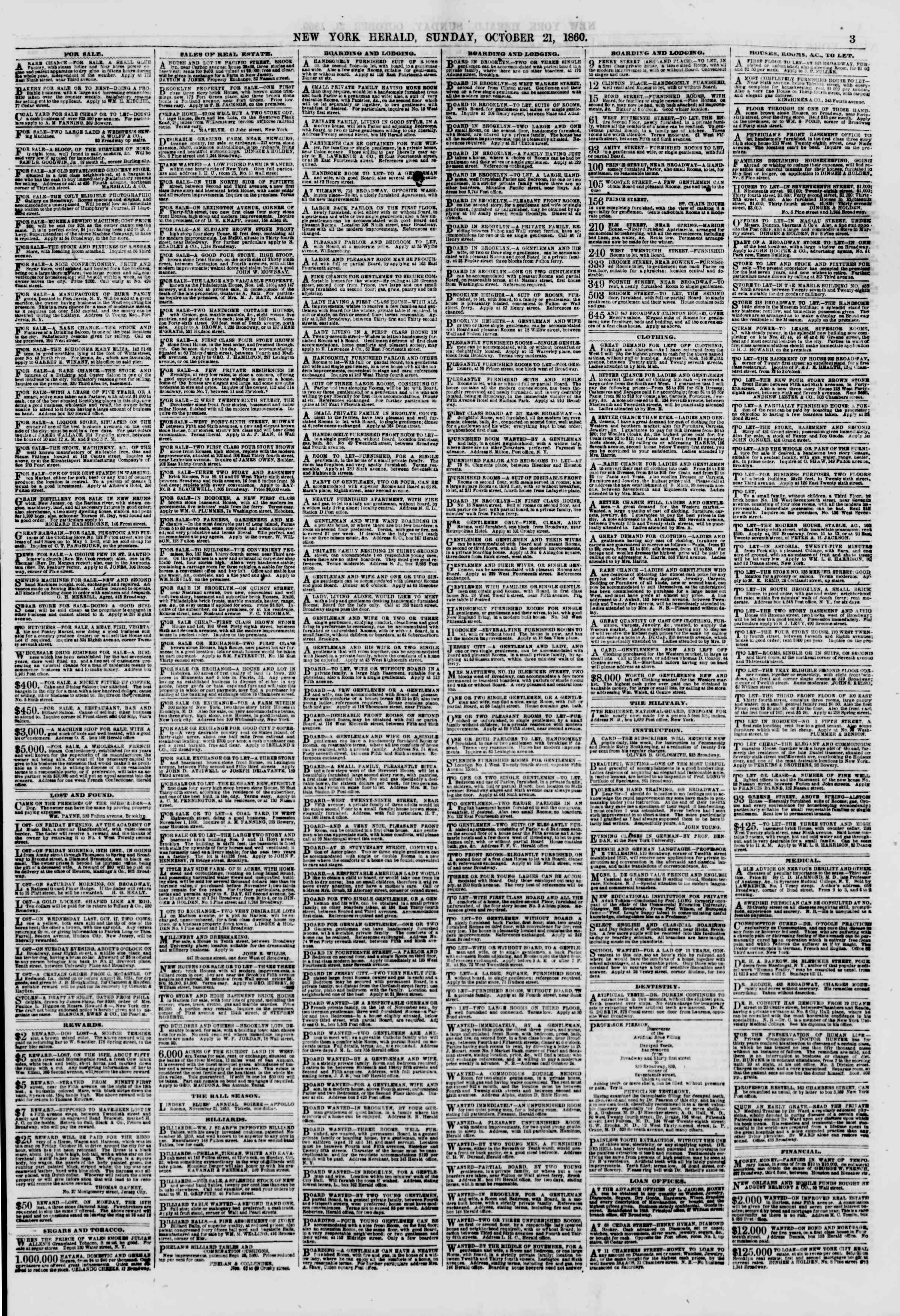 Newspaper of The New York Herald dated October 21, 1860 Page 3