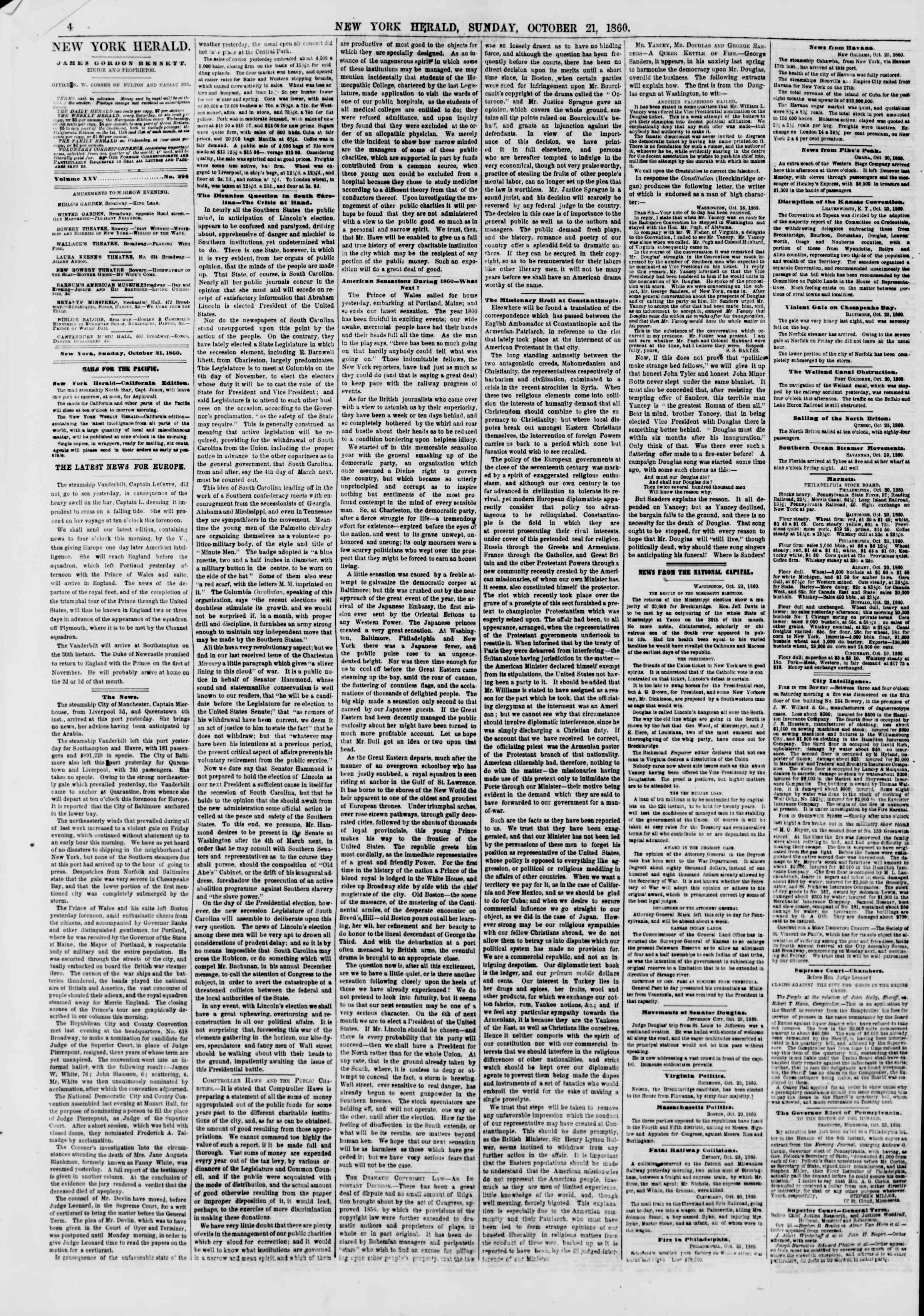 Newspaper of The New York Herald dated October 21, 1860 Page 4