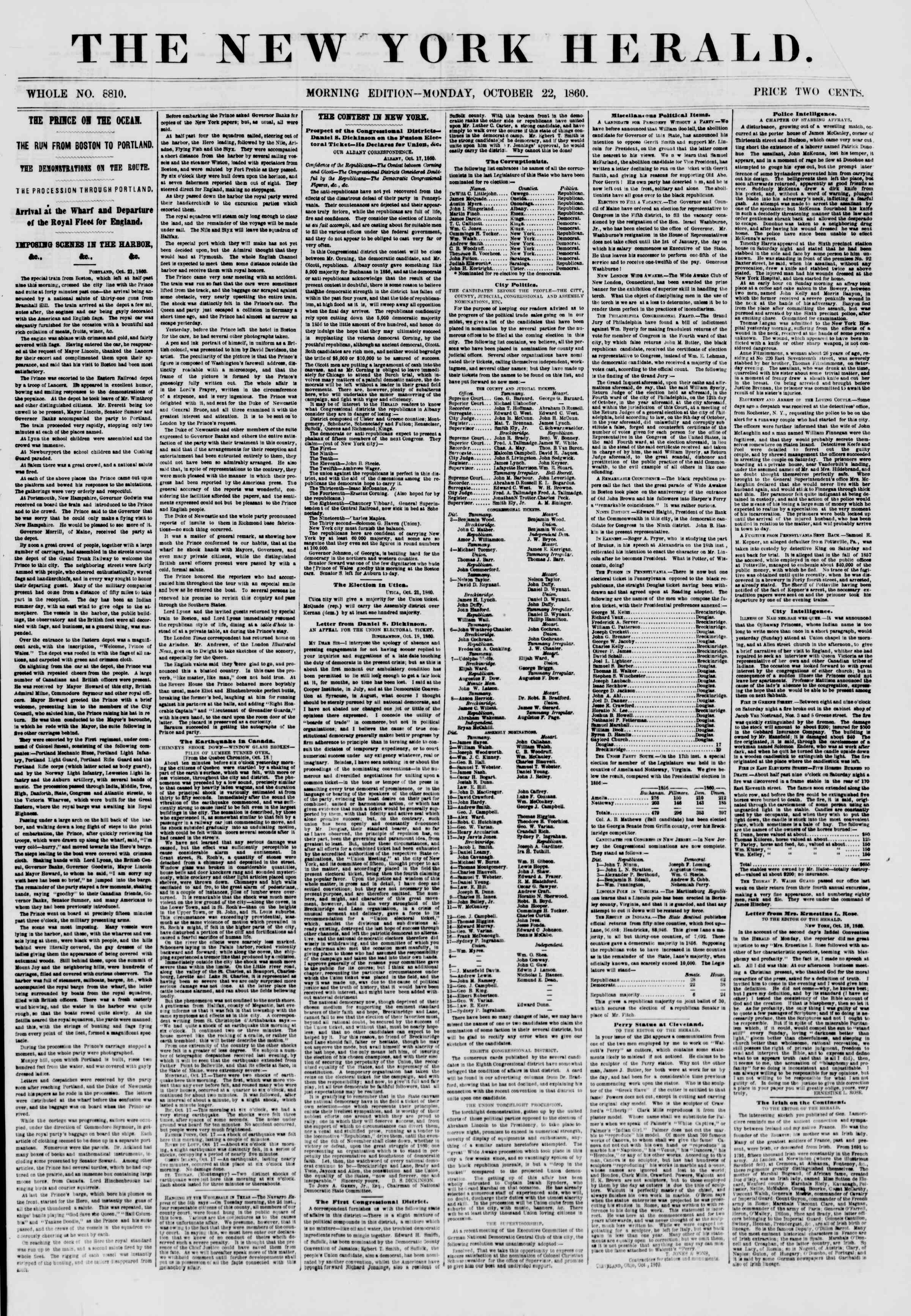 Newspaper of The New York Herald dated October 22, 1860 Page 1