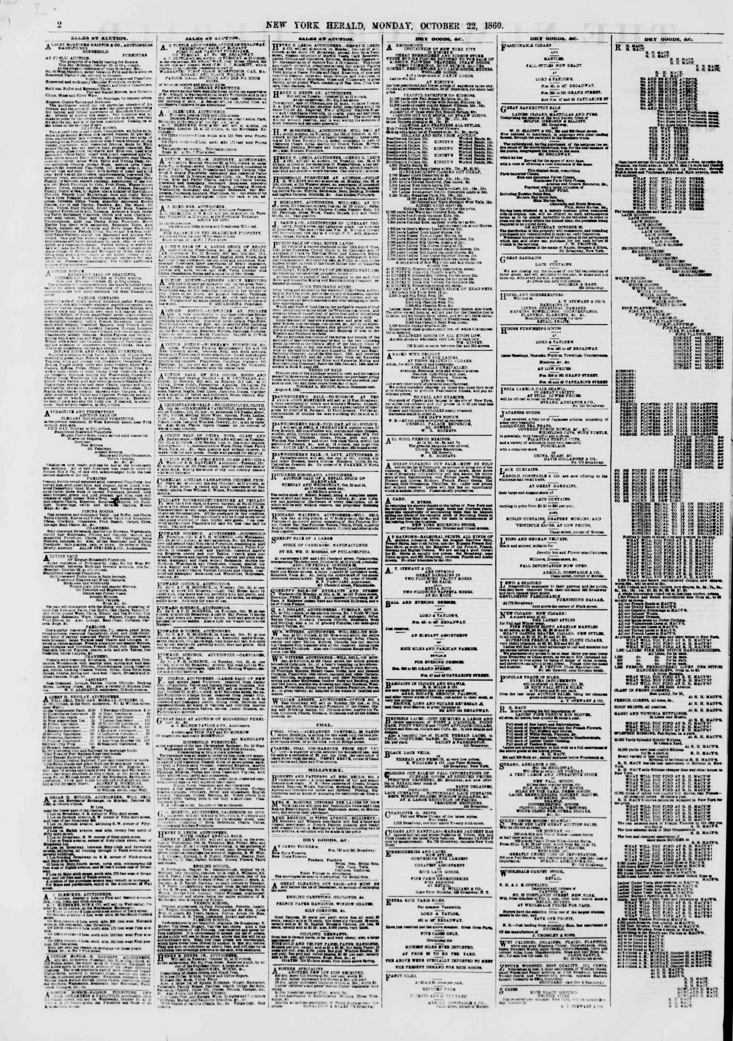 Newspaper of The New York Herald dated October 22, 1860 Page 2
