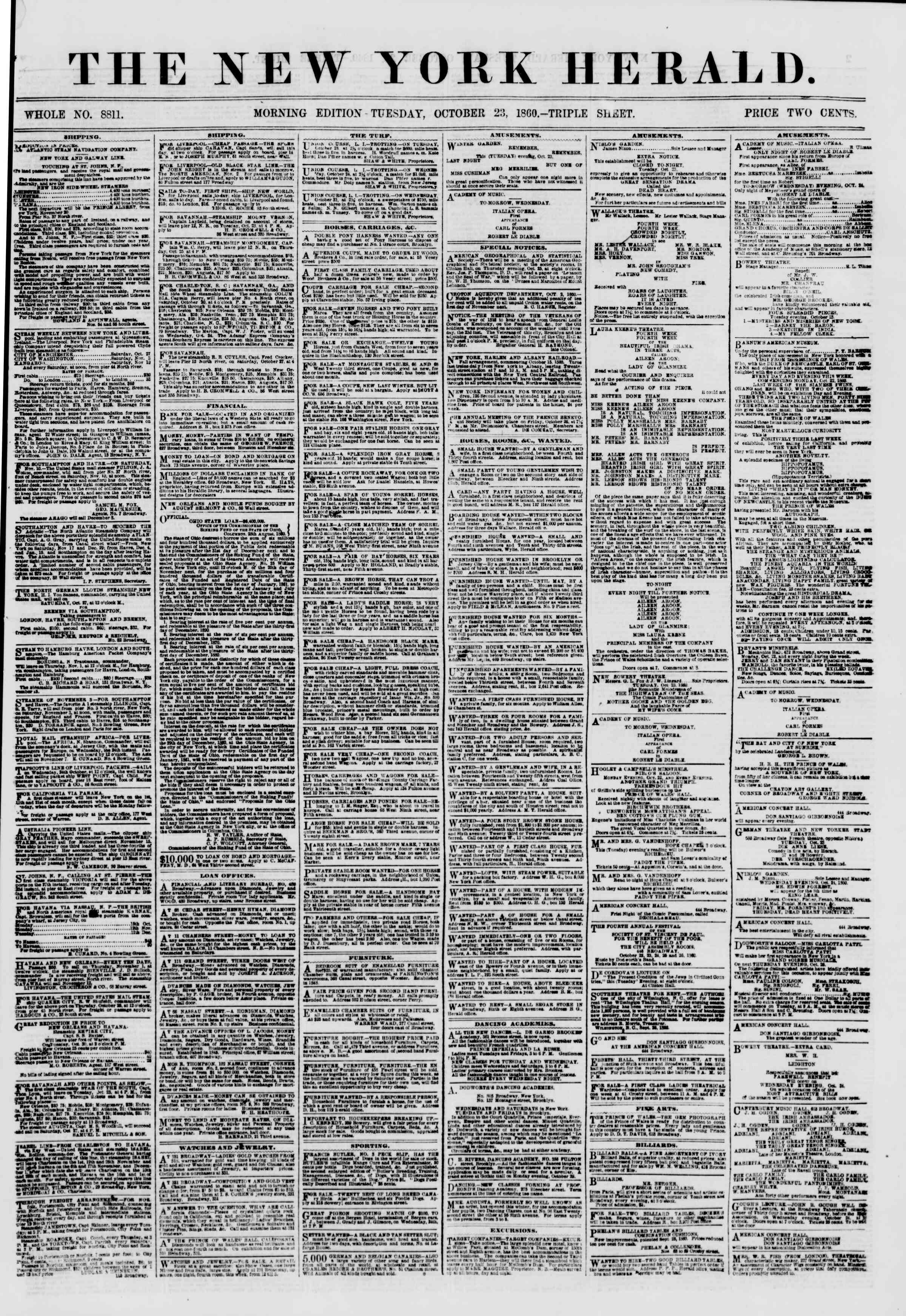 Newspaper of The New York Herald dated October 23, 1860 Page 1