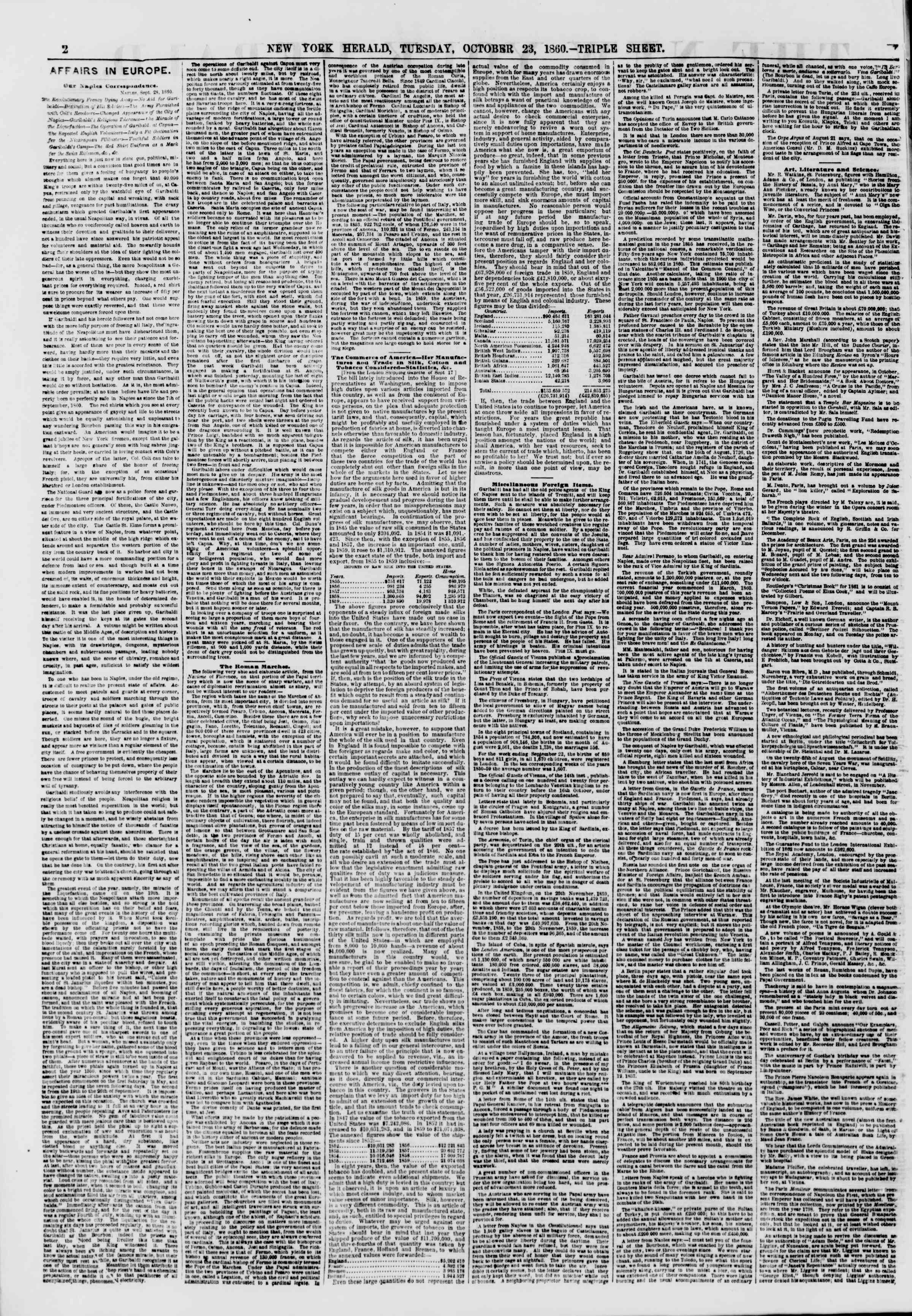 Newspaper of The New York Herald dated October 23, 1860 Page 2
