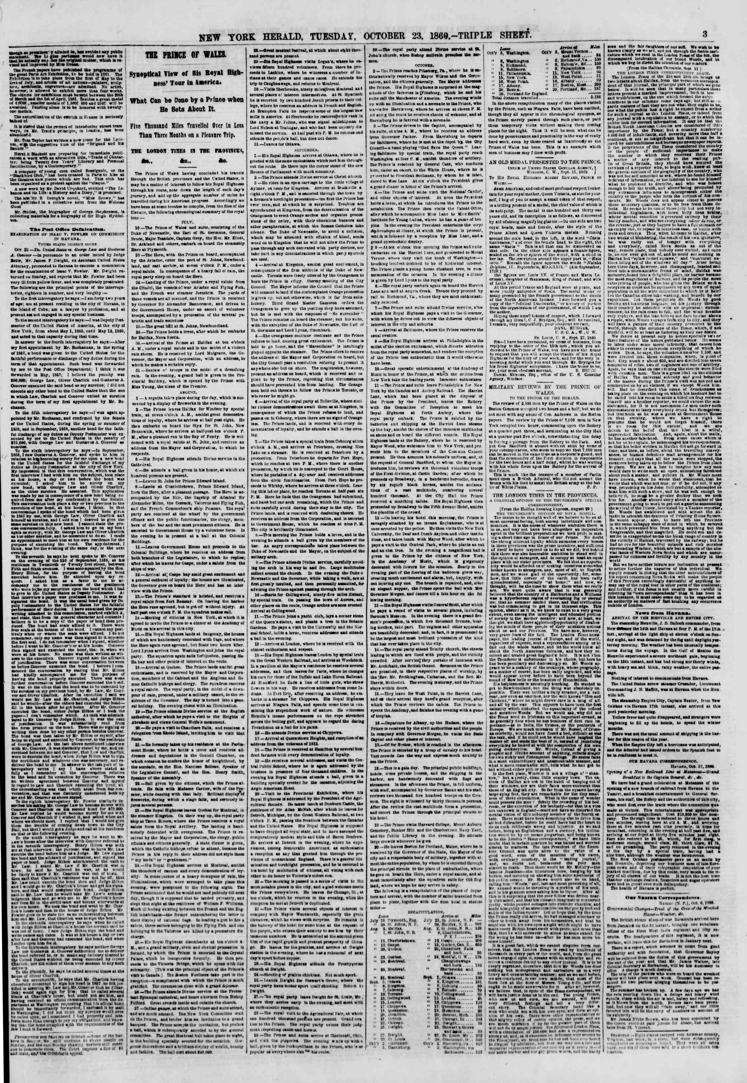 Newspaper of The New York Herald dated October 23, 1860 Page 3