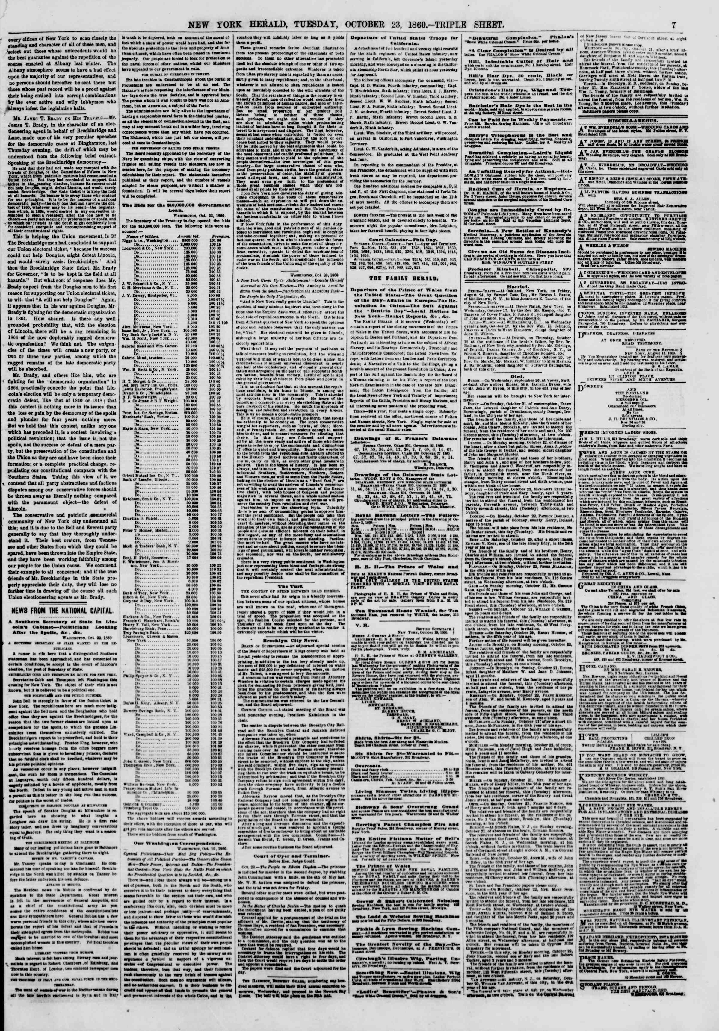 Newspaper of The New York Herald dated October 23, 1860 Page 7