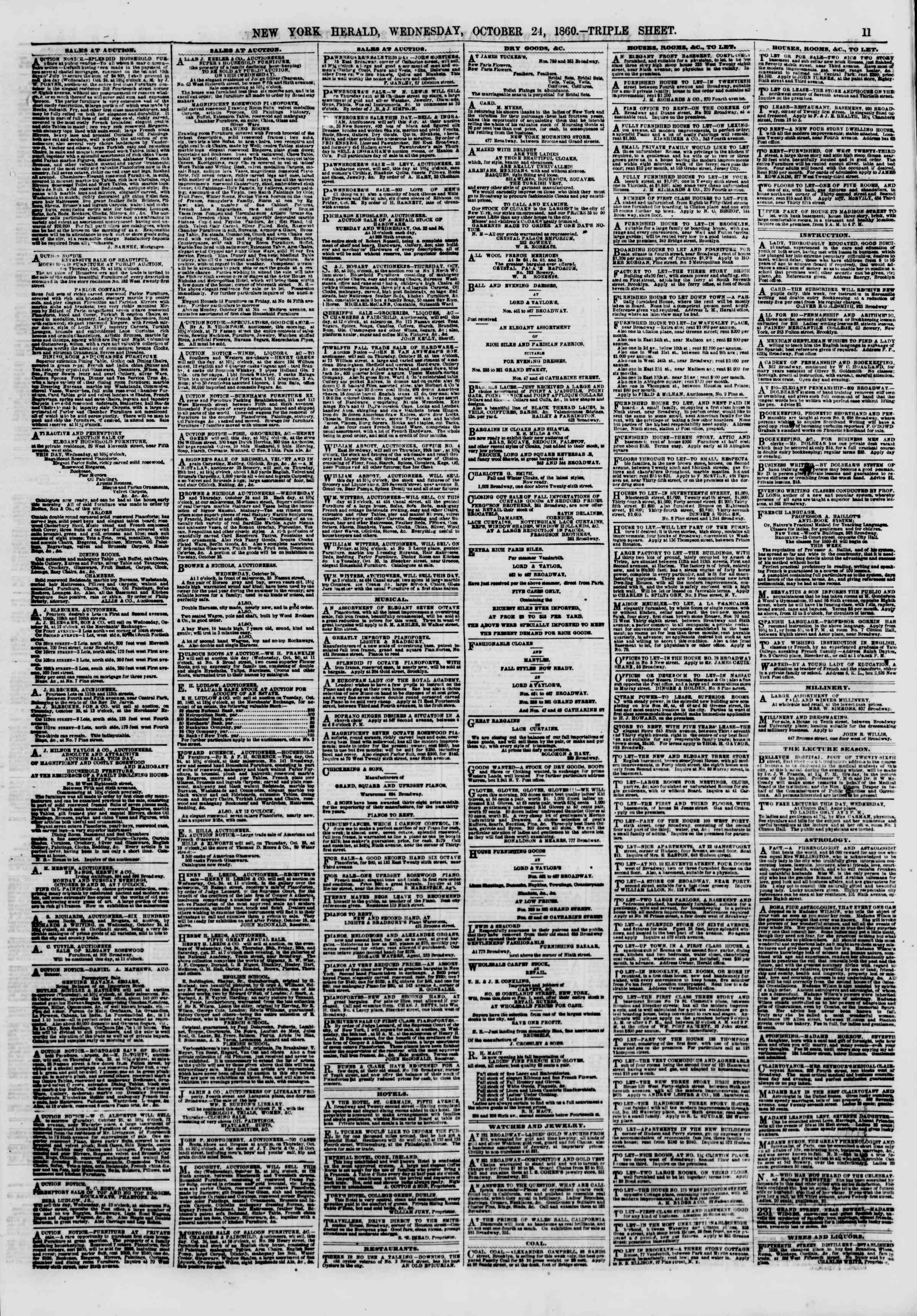 Newspaper of The New York Herald dated October 24, 1860 Page 11