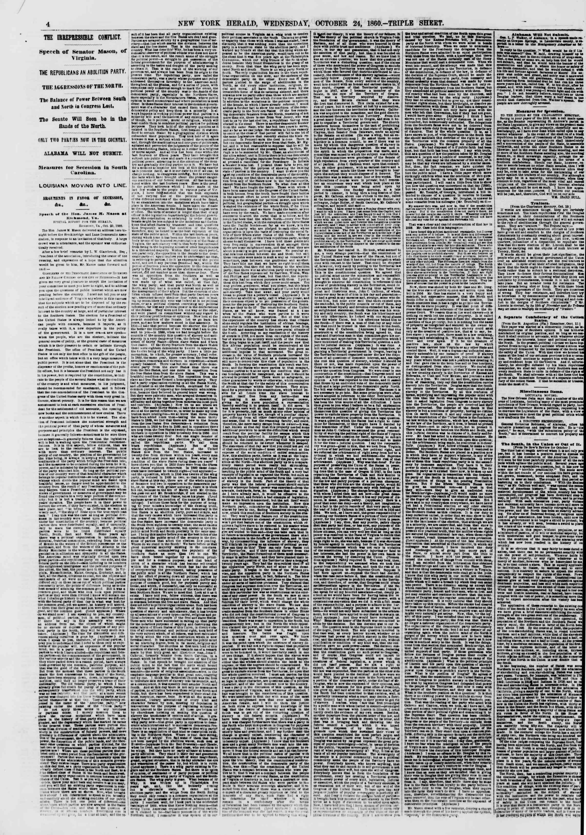 24 Ekim 1860 tarihli The New York Herald Gazetesi Sayfa 4