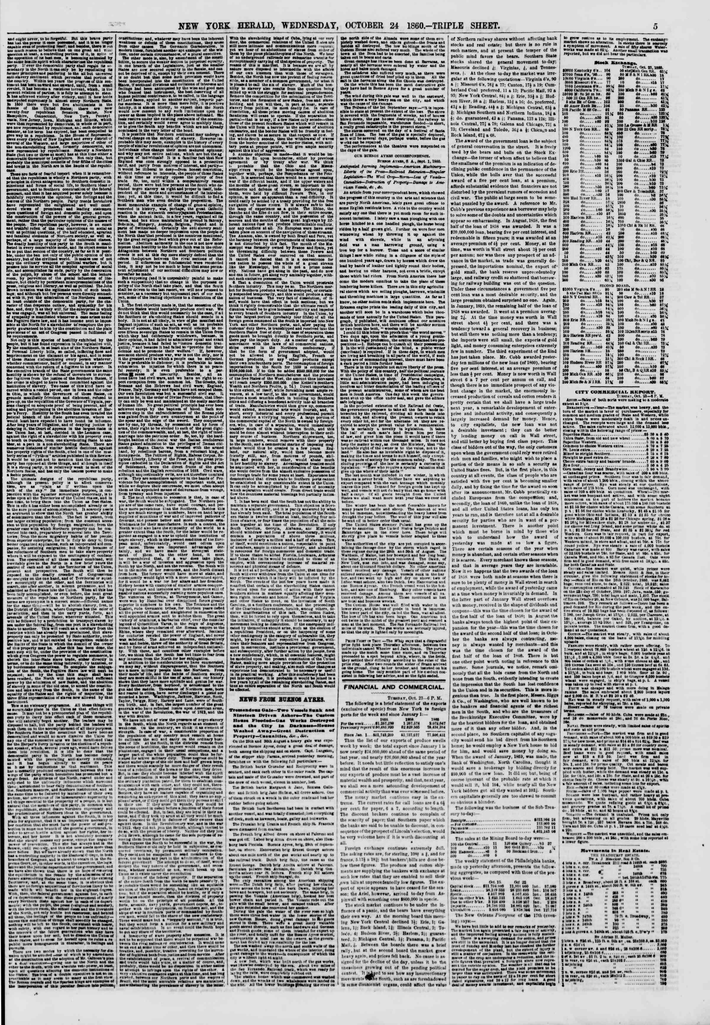 Newspaper of The New York Herald dated October 24, 1860 Page 5