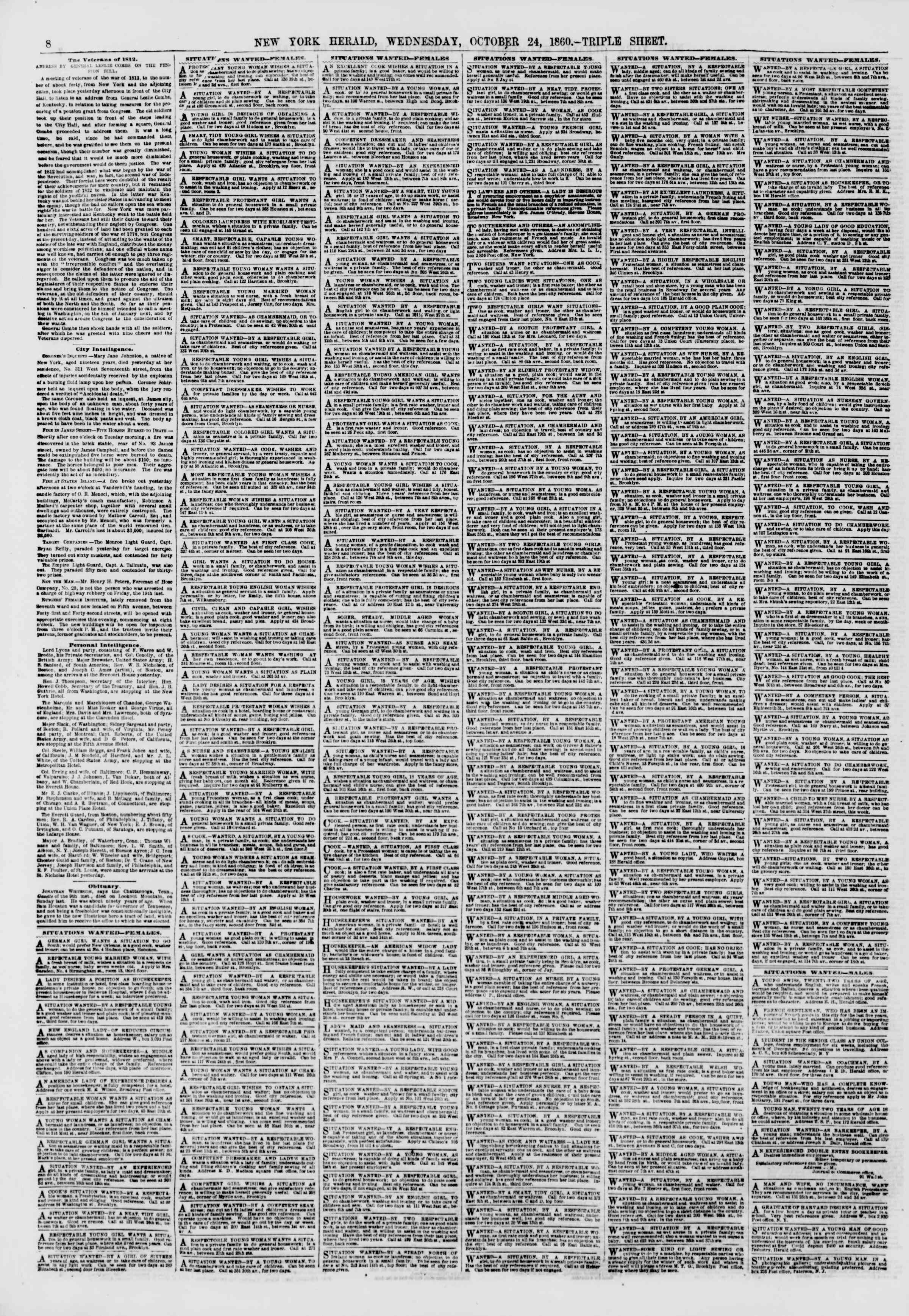 Newspaper of The New York Herald dated October 24, 1860 Page 8