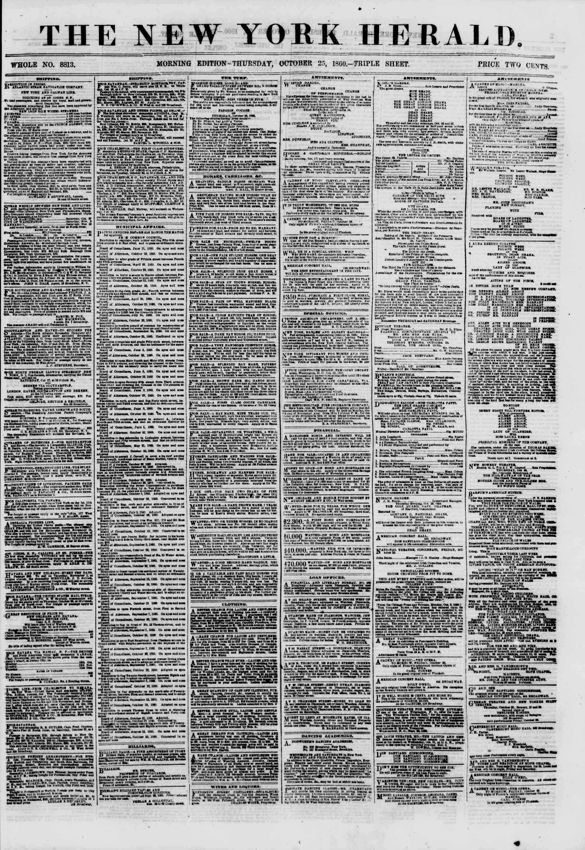 Newspaper of The New York Herald dated October 25, 1860 Page 1