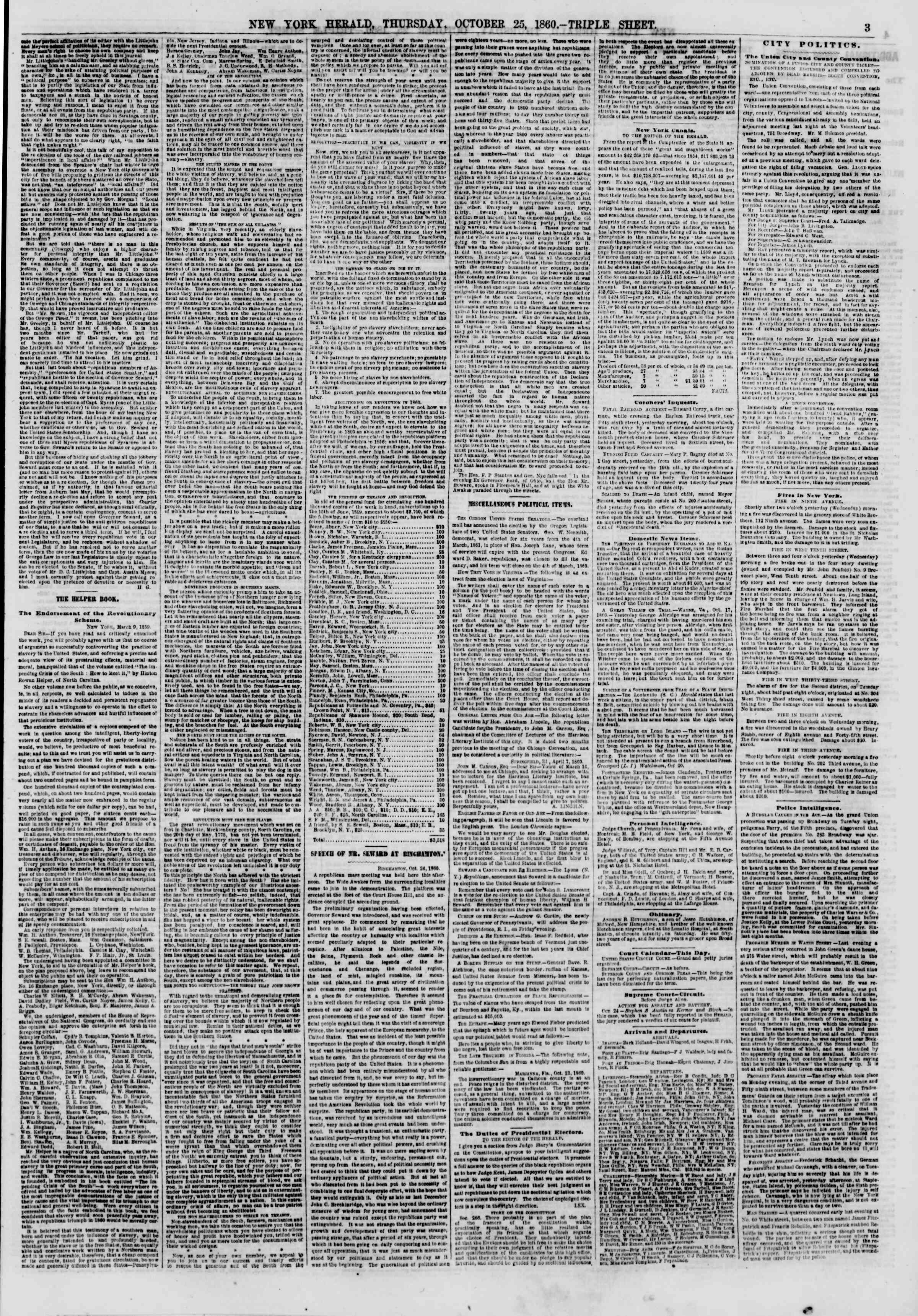 Newspaper of The New York Herald dated October 25, 1860 Page 3
