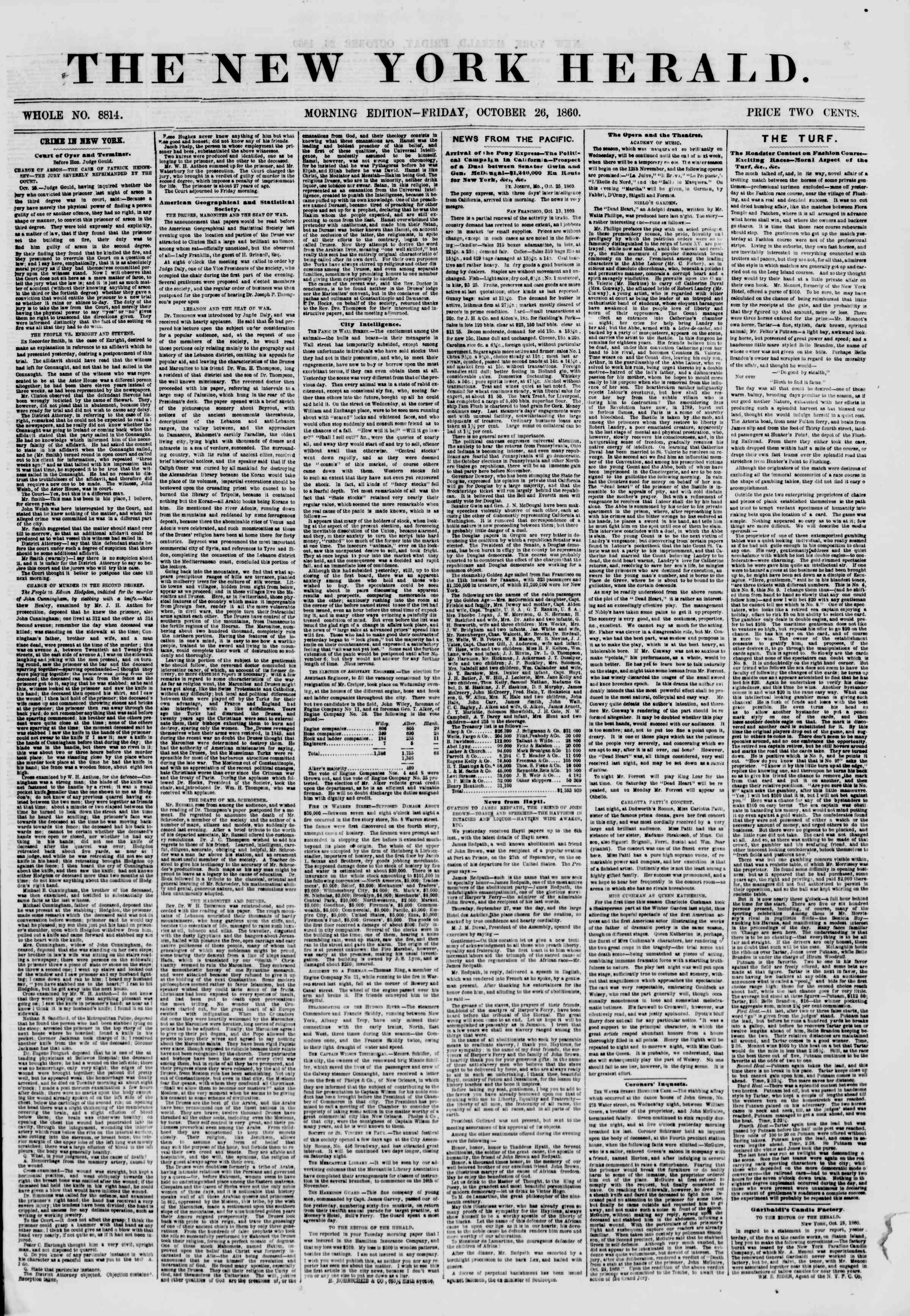 Newspaper of The New York Herald dated October 26, 1860 Page 1