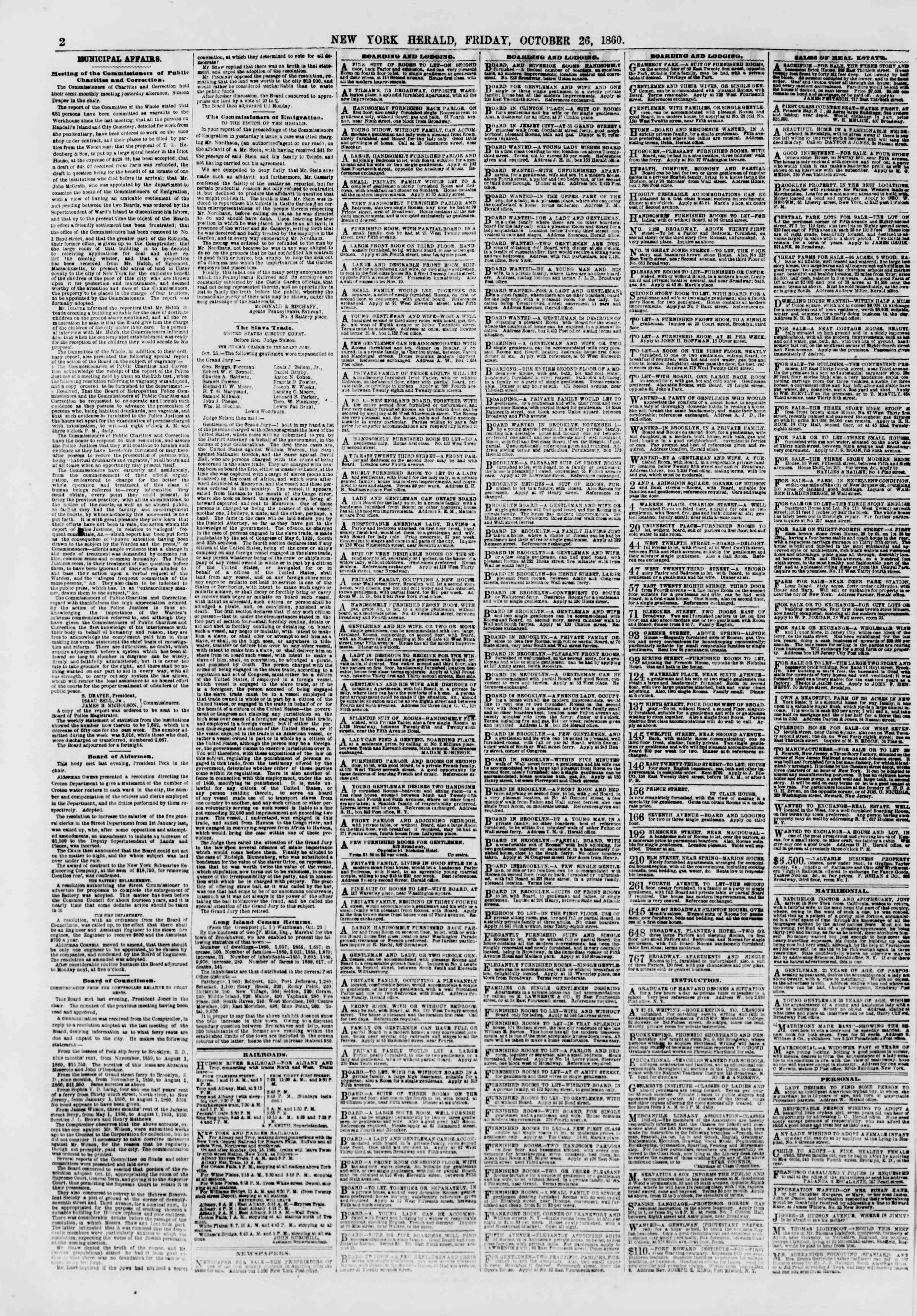 Newspaper of The New York Herald dated October 26, 1860 Page 2