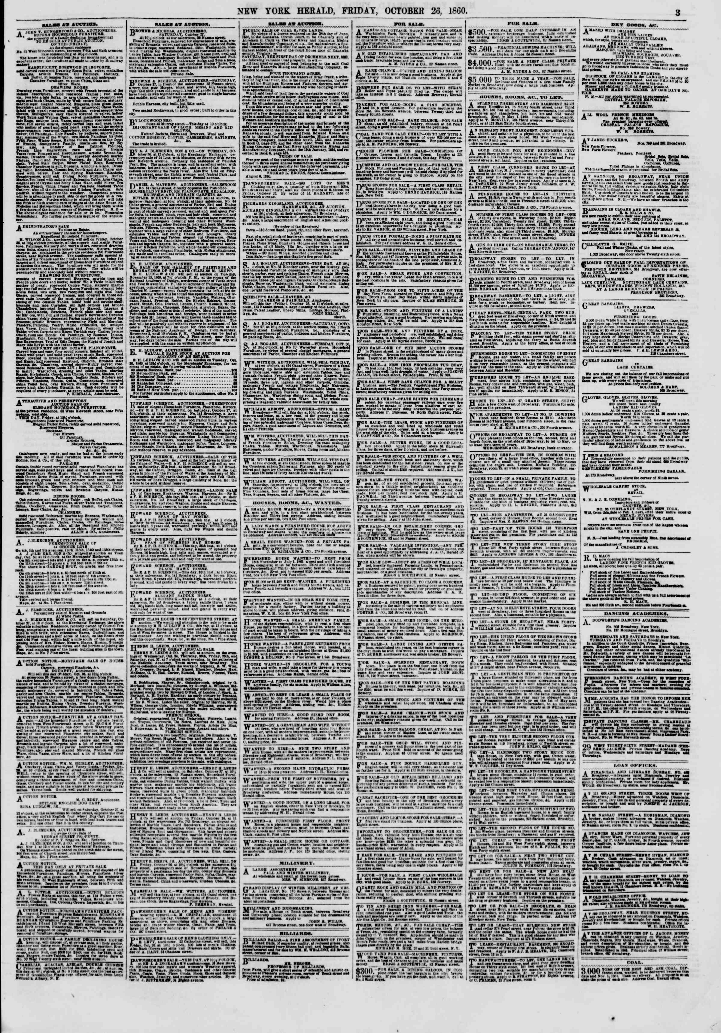Newspaper of The New York Herald dated October 26, 1860 Page 3