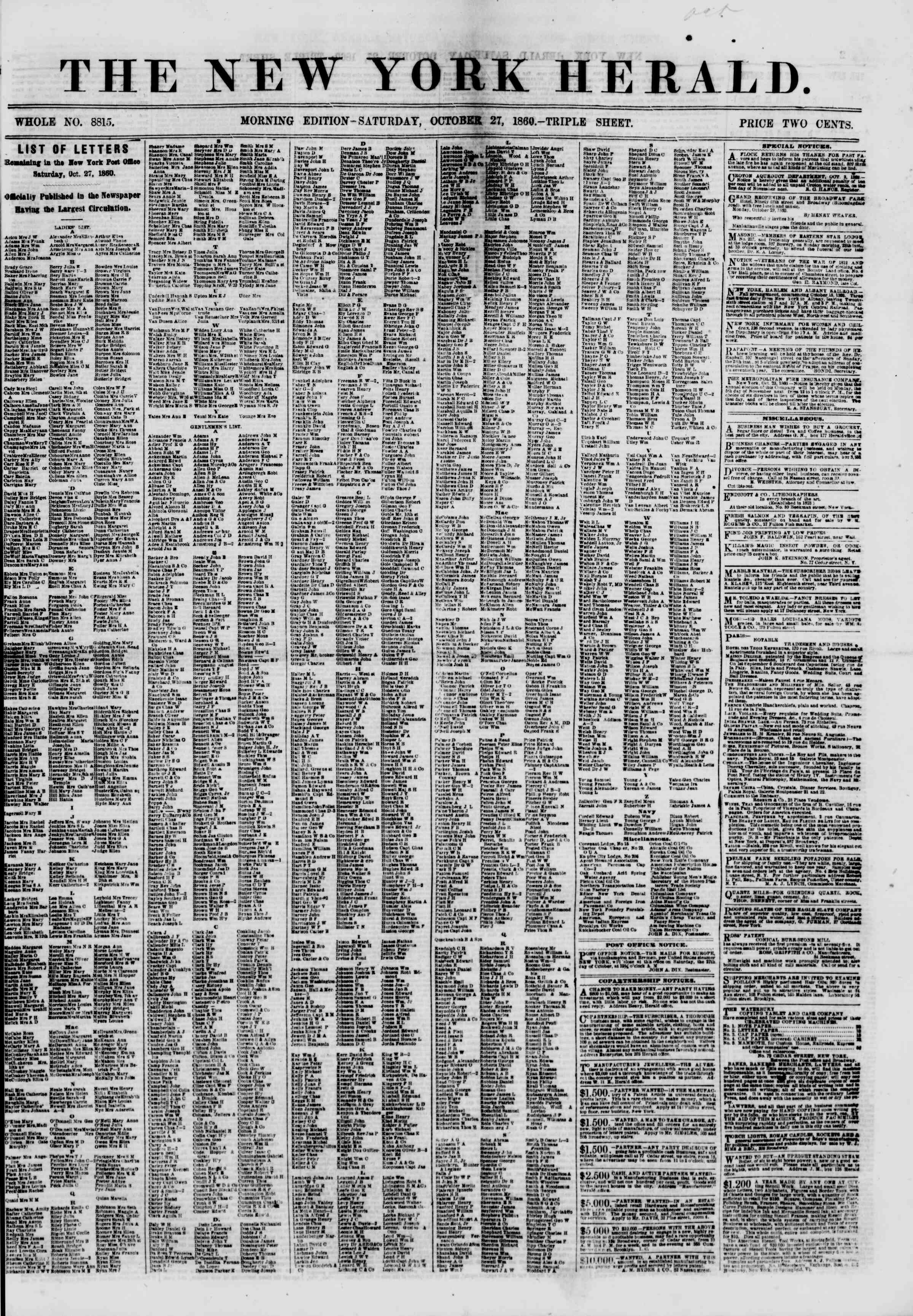Newspaper of The New York Herald dated October 27, 1860 Page 1
