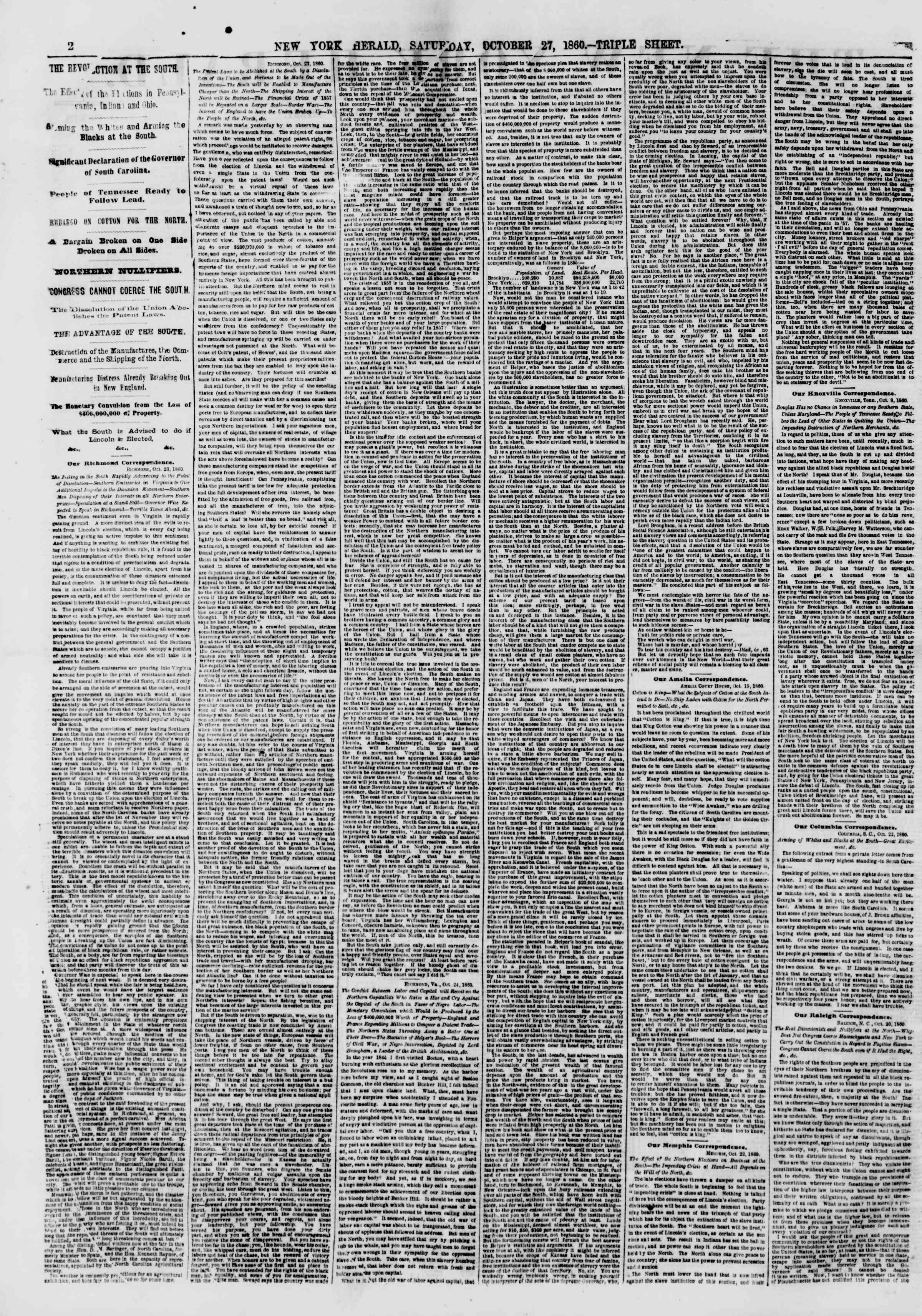 Newspaper of The New York Herald dated October 27, 1860 Page 2