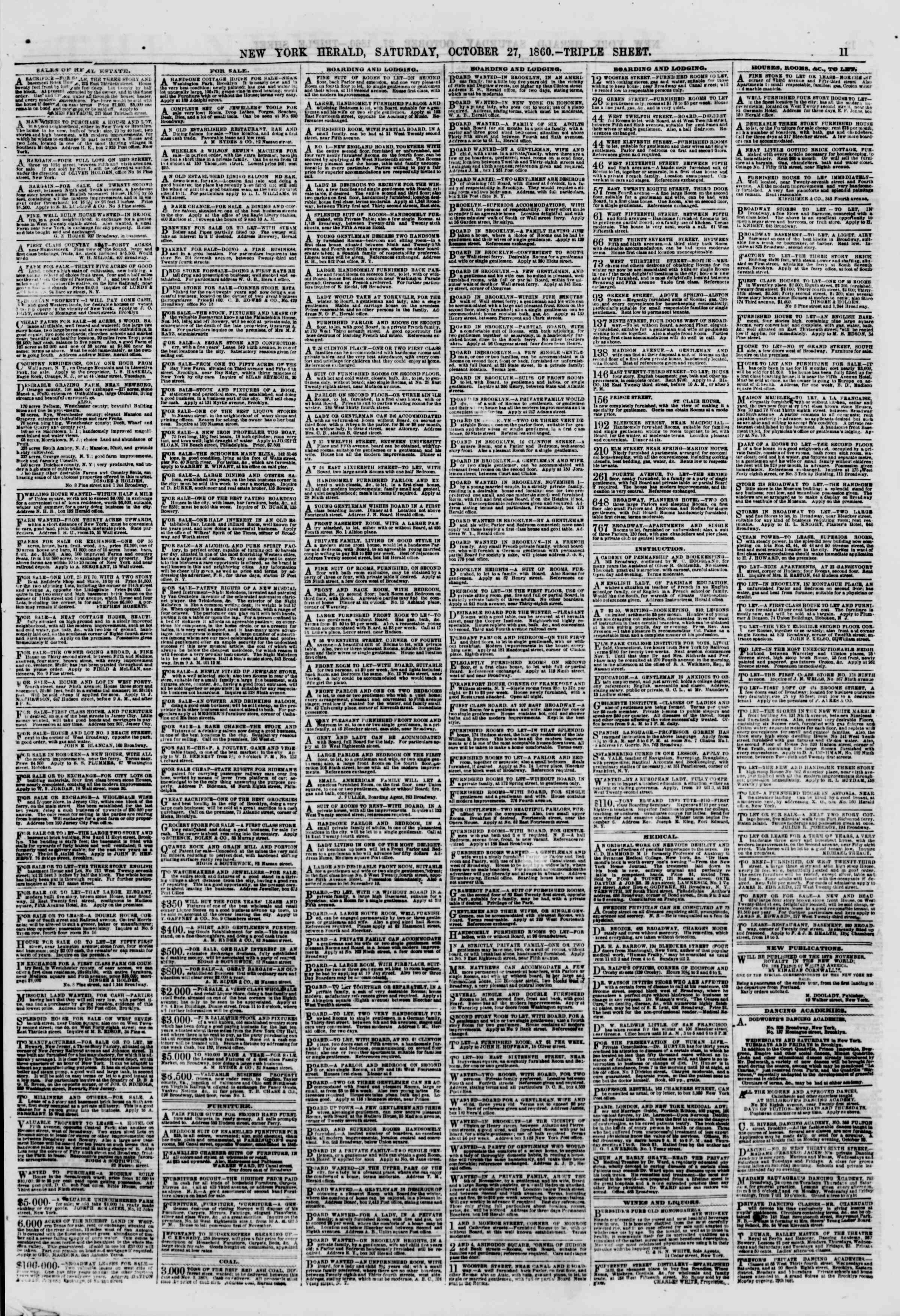 Newspaper of The New York Herald dated October 27, 1860 Page 11