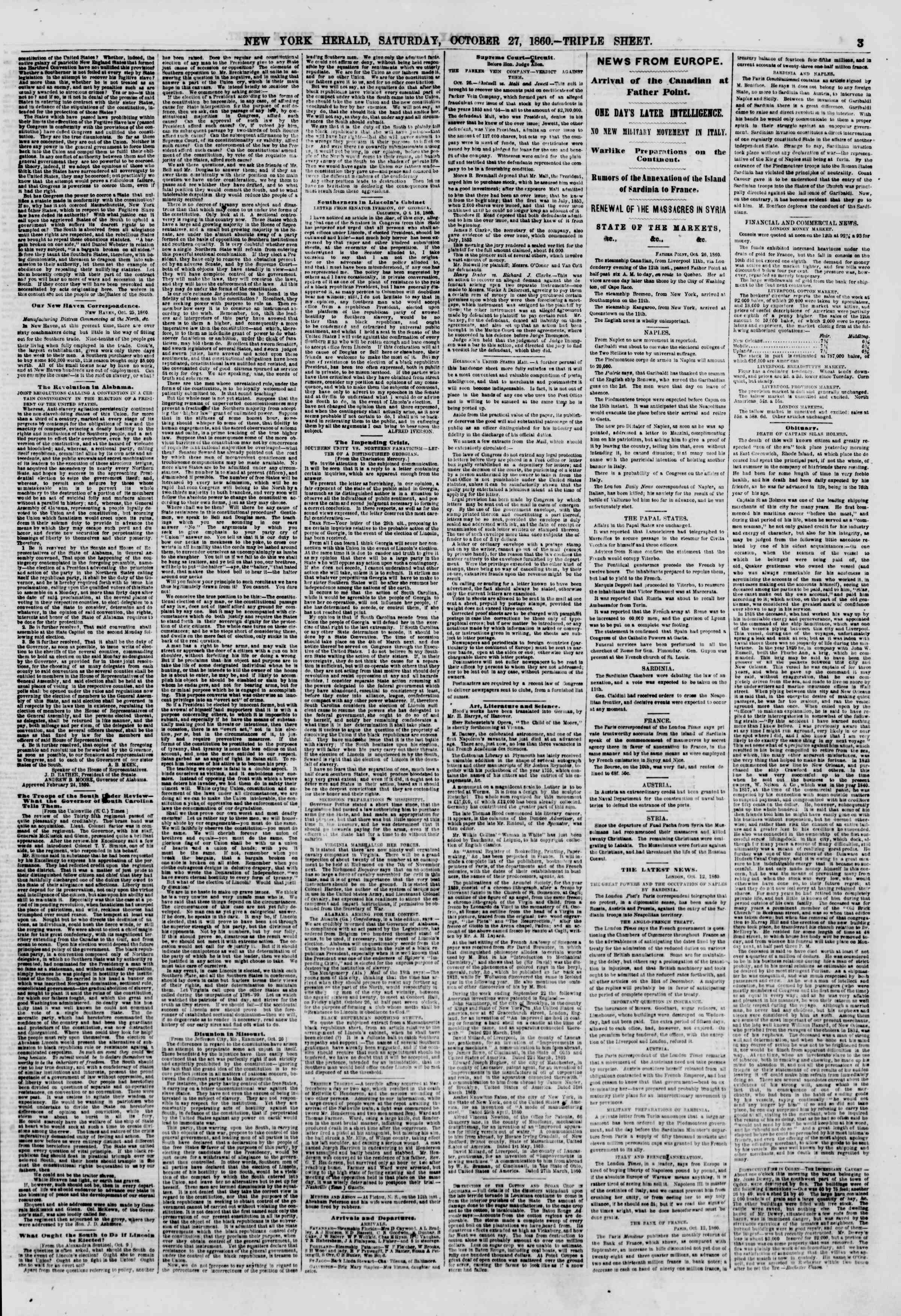 Newspaper of The New York Herald dated October 27, 1860 Page 3