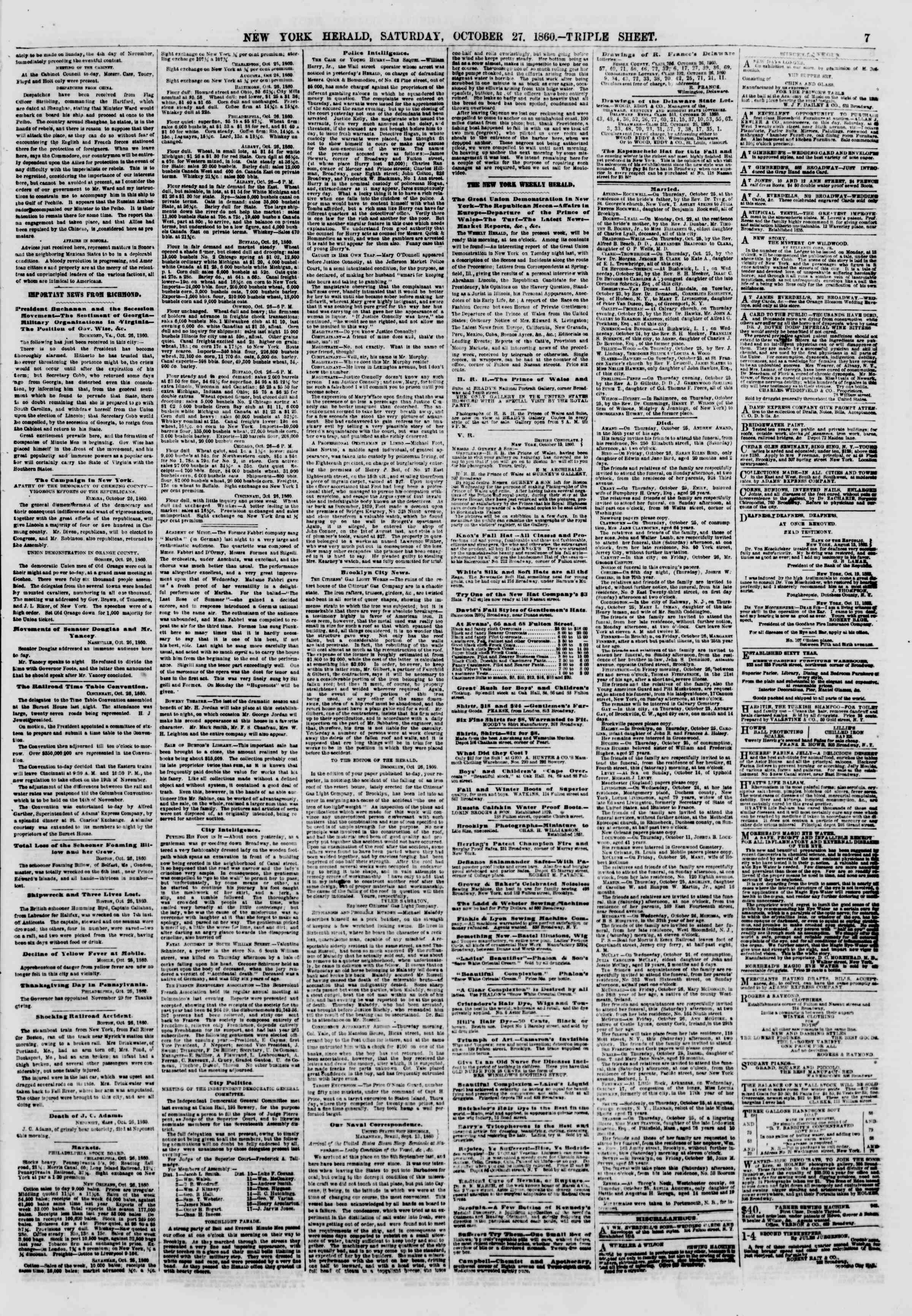 Newspaper of The New York Herald dated October 27, 1860 Page 7