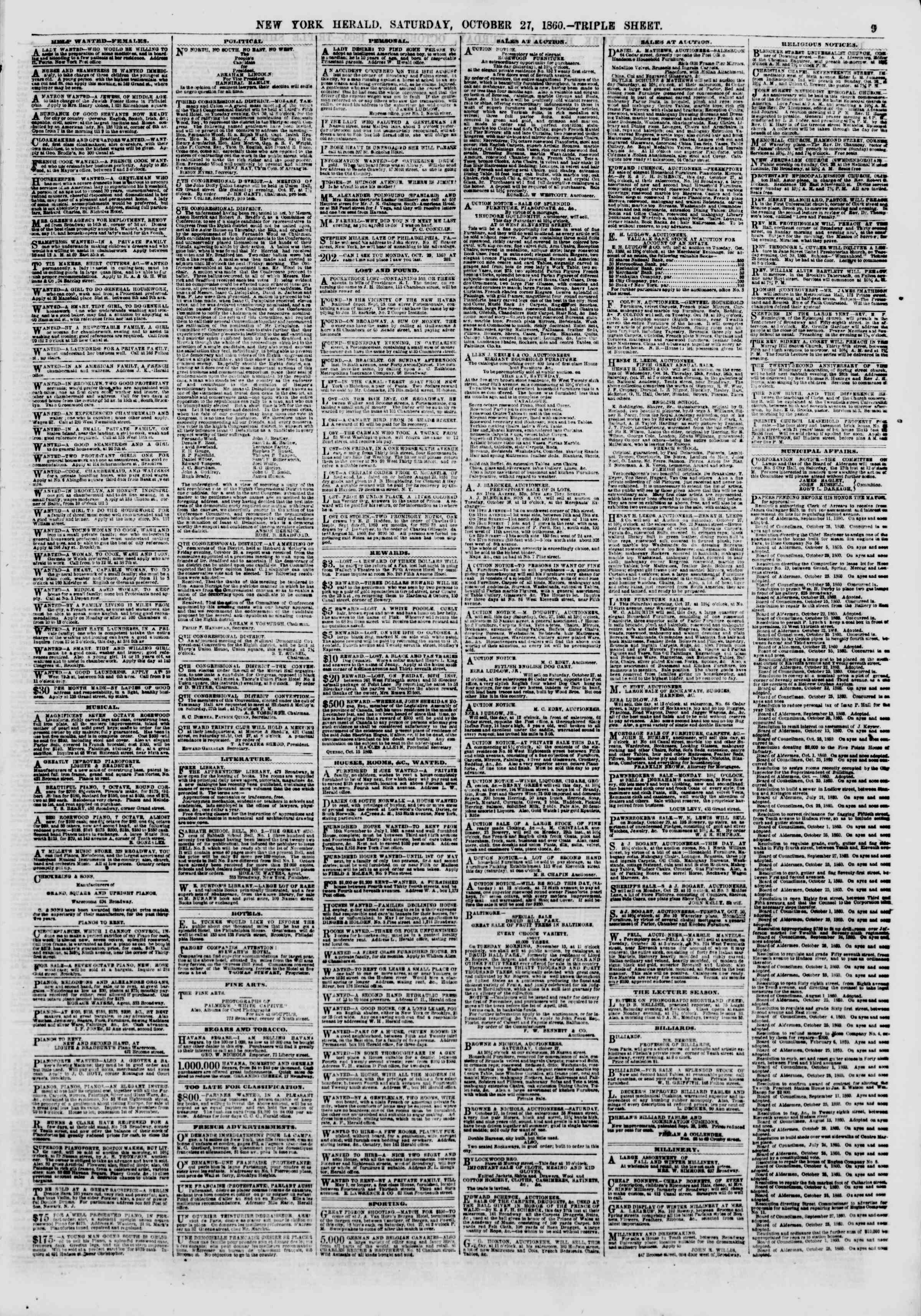 Newspaper of The New York Herald dated October 27, 1860 Page 9