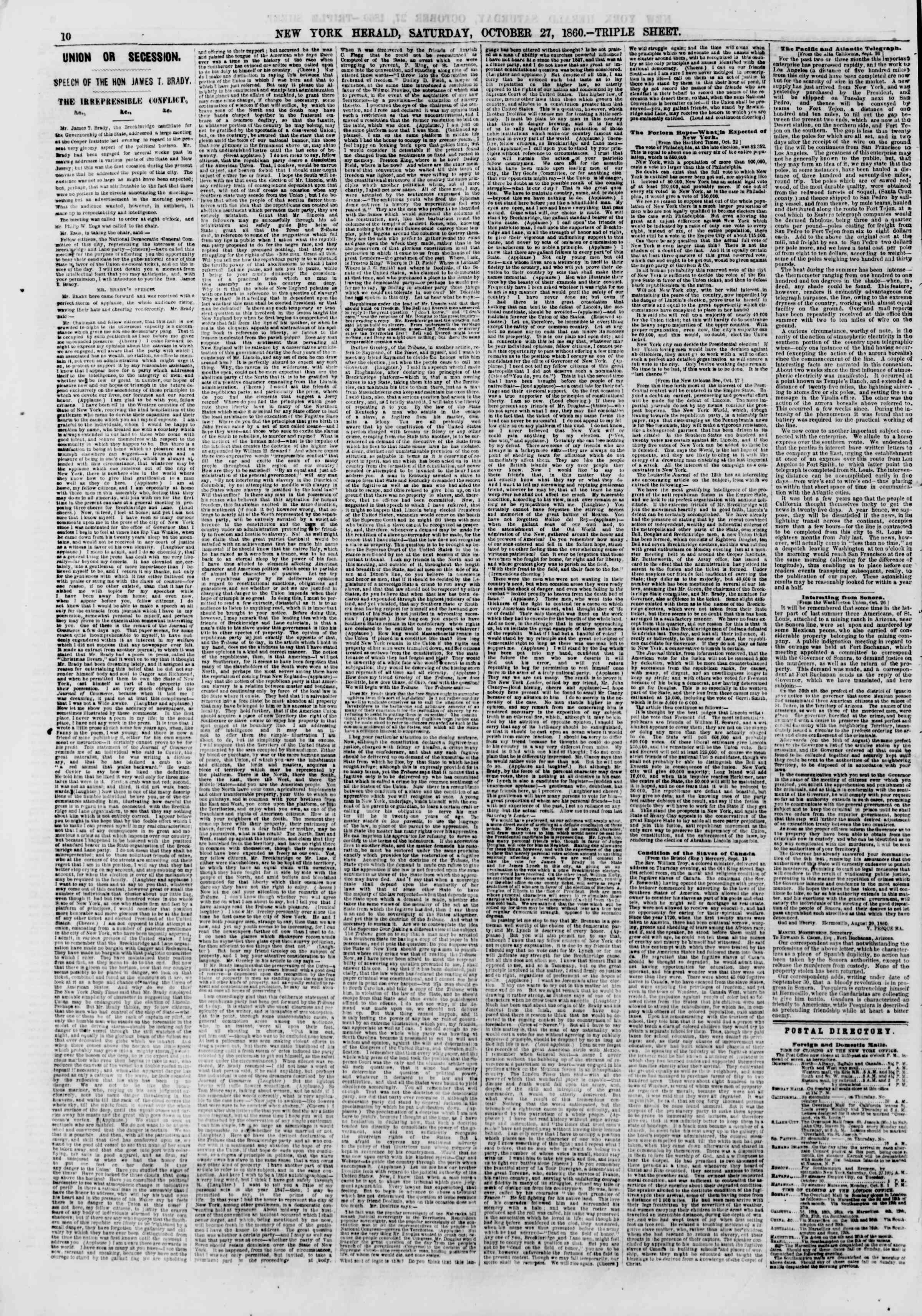 Newspaper of The New York Herald dated October 27, 1860 Page 10