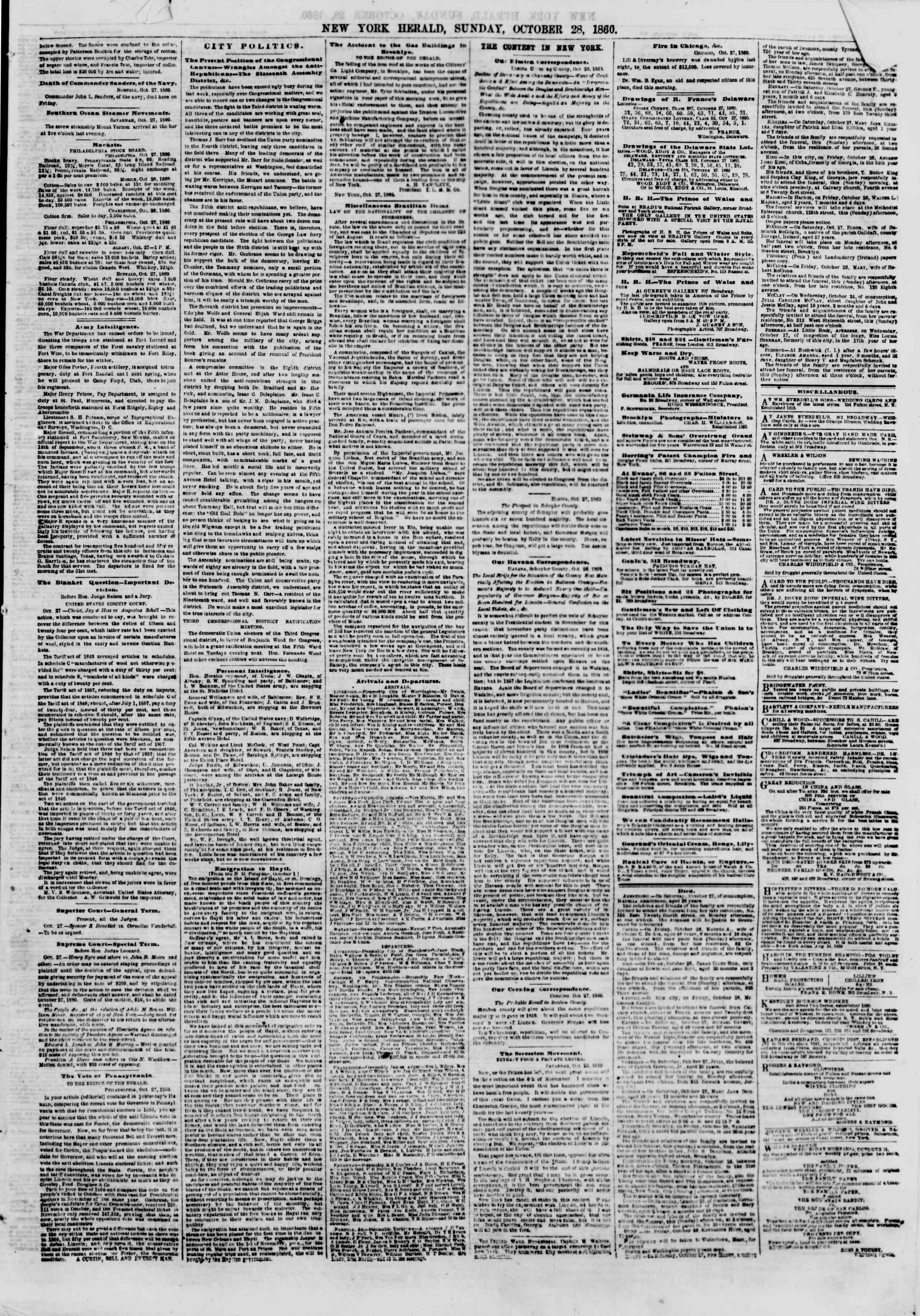 Newspaper of The New York Herald dated October 28, 1860 Page 5