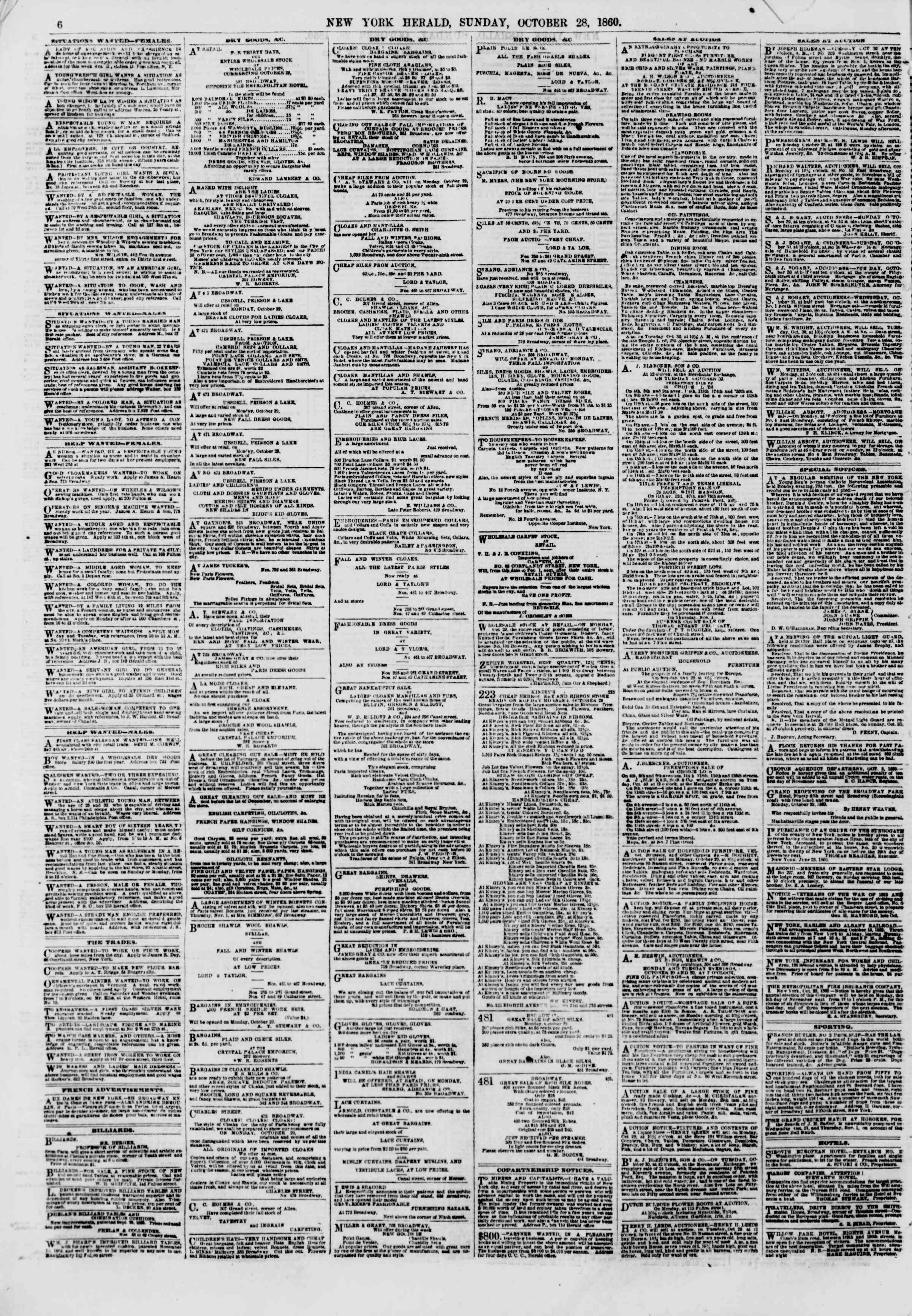 28 Ekim 1860 tarihli The New York Herald Gazetesi Sayfa 6