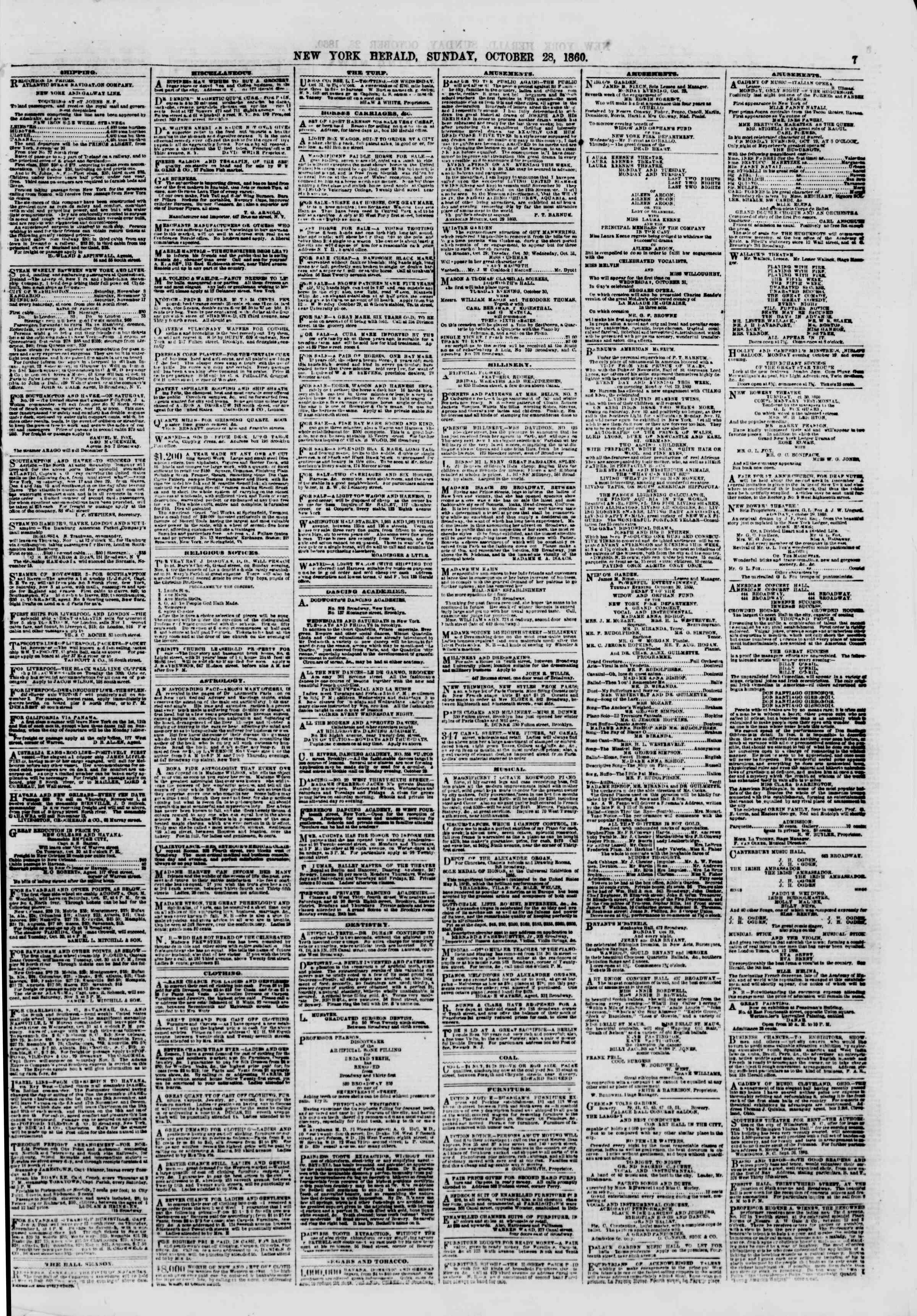 Newspaper of The New York Herald dated October 28, 1860 Page 7