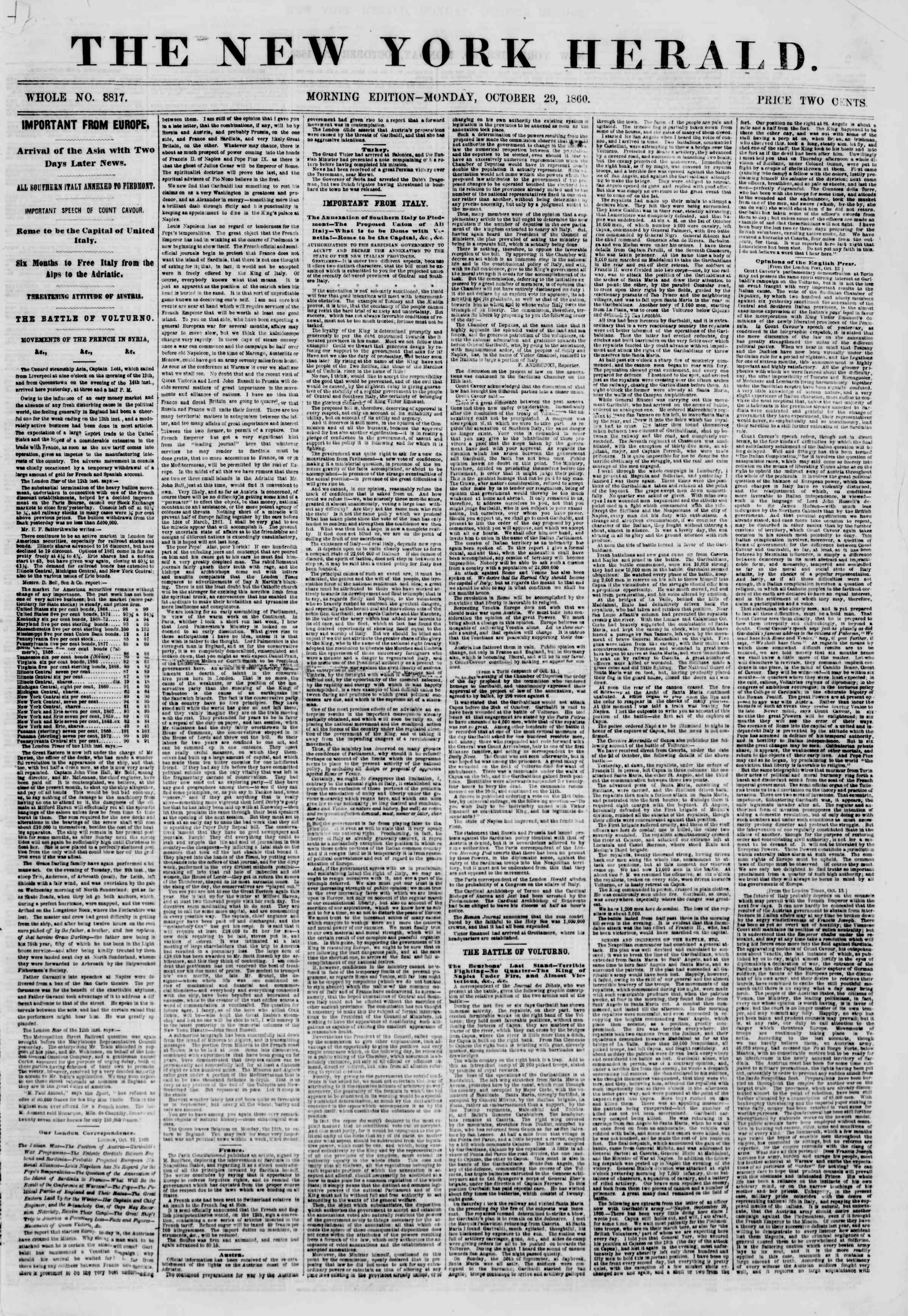 Newspaper of The New York Herald dated October 29, 1860 Page 1